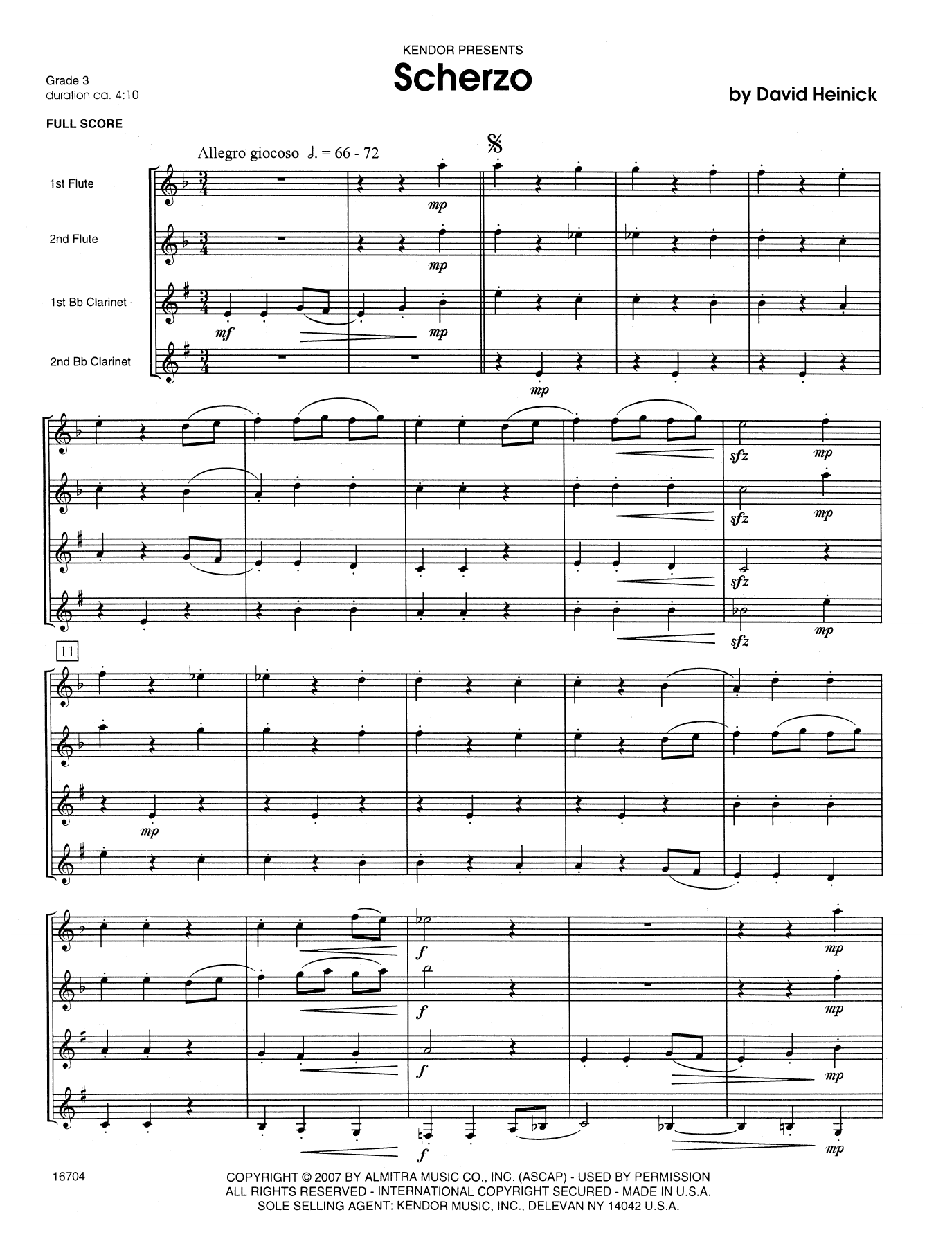 Scherzo (COMPLETE) sheet music for wind quartet by David Heinick. Score Image Preview.