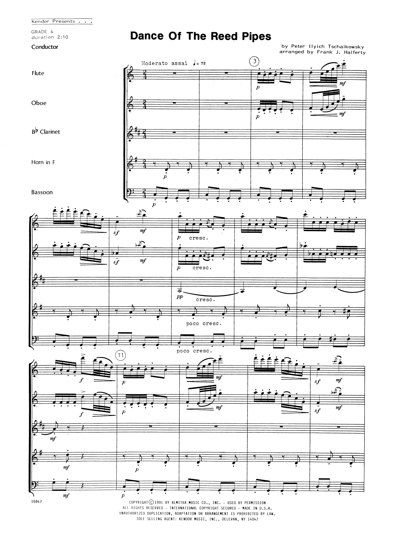 Dance Of The Reed Pipes (COMPLETE) sheet music for wind quintet by Frank J. Halferty, Pyotr Ilyich Tchaikovsky and Tschaikowsky. Score Image Preview.