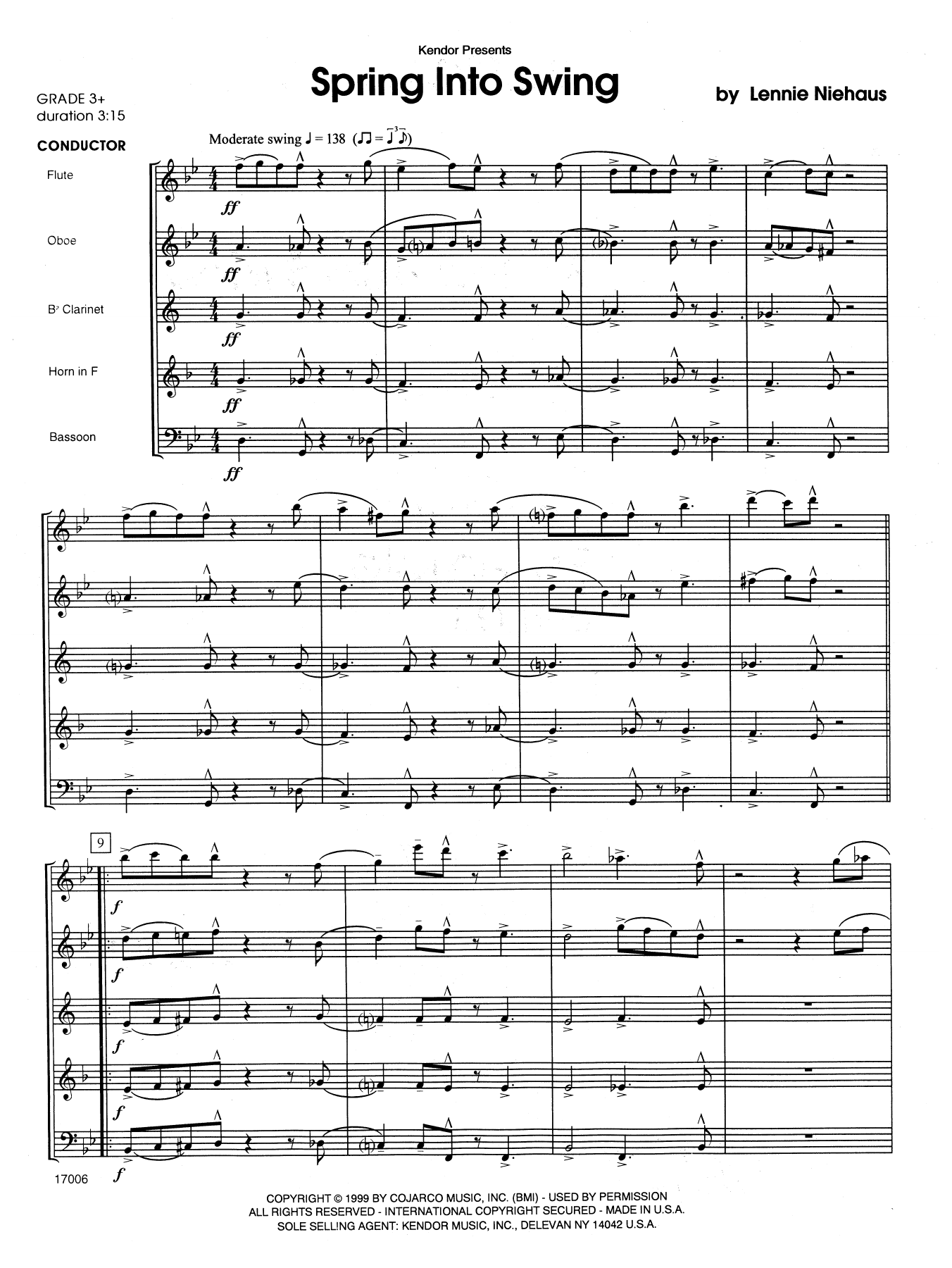 Spring Into Swing (COMPLETE) sheet music for wind quintet by Lennie Niehaus. Score Image Preview.