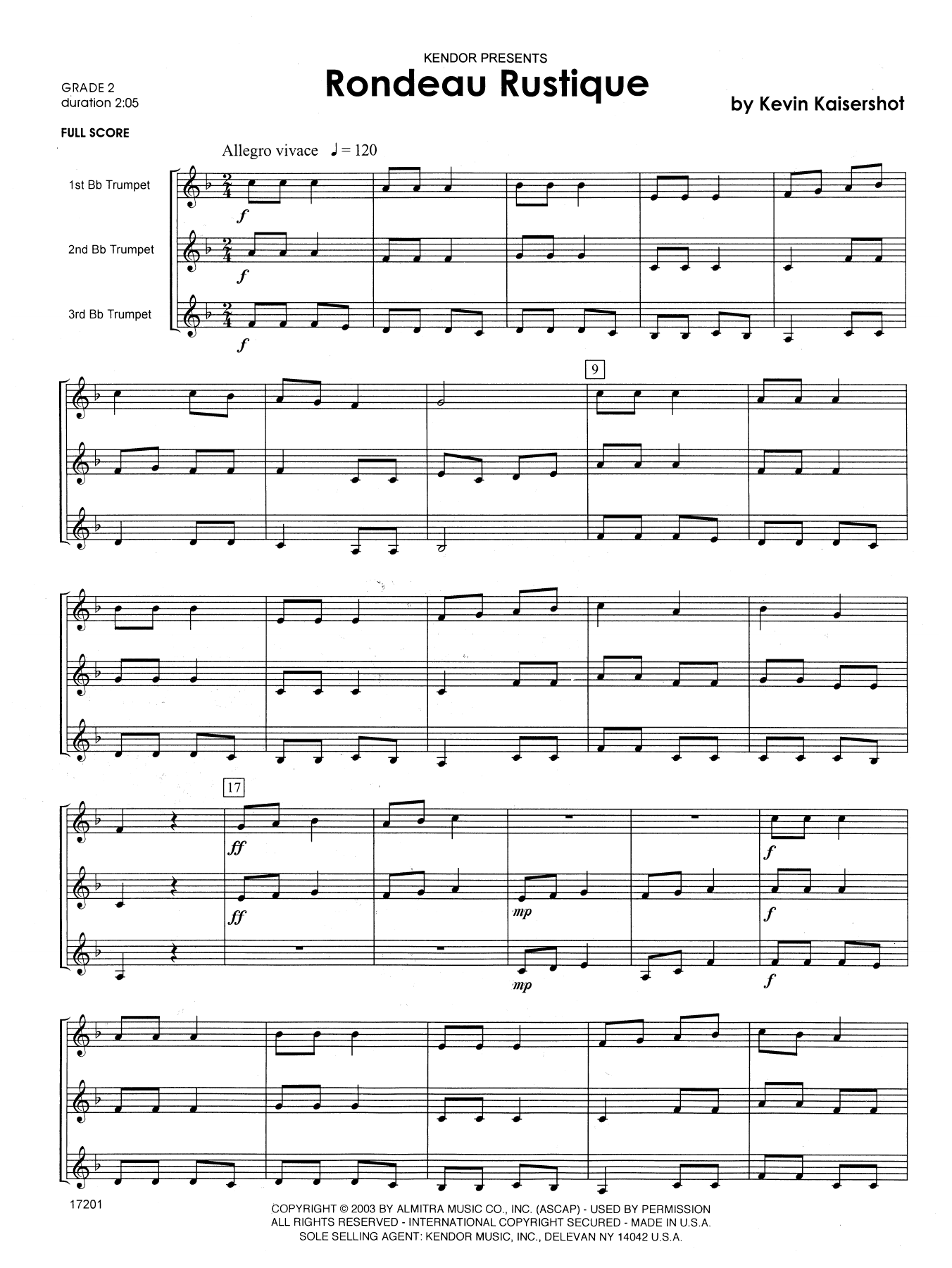Rondeau Rustique (COMPLETE) sheet music for trumpet trio by Kevin Kaisershot. Score Image Preview.