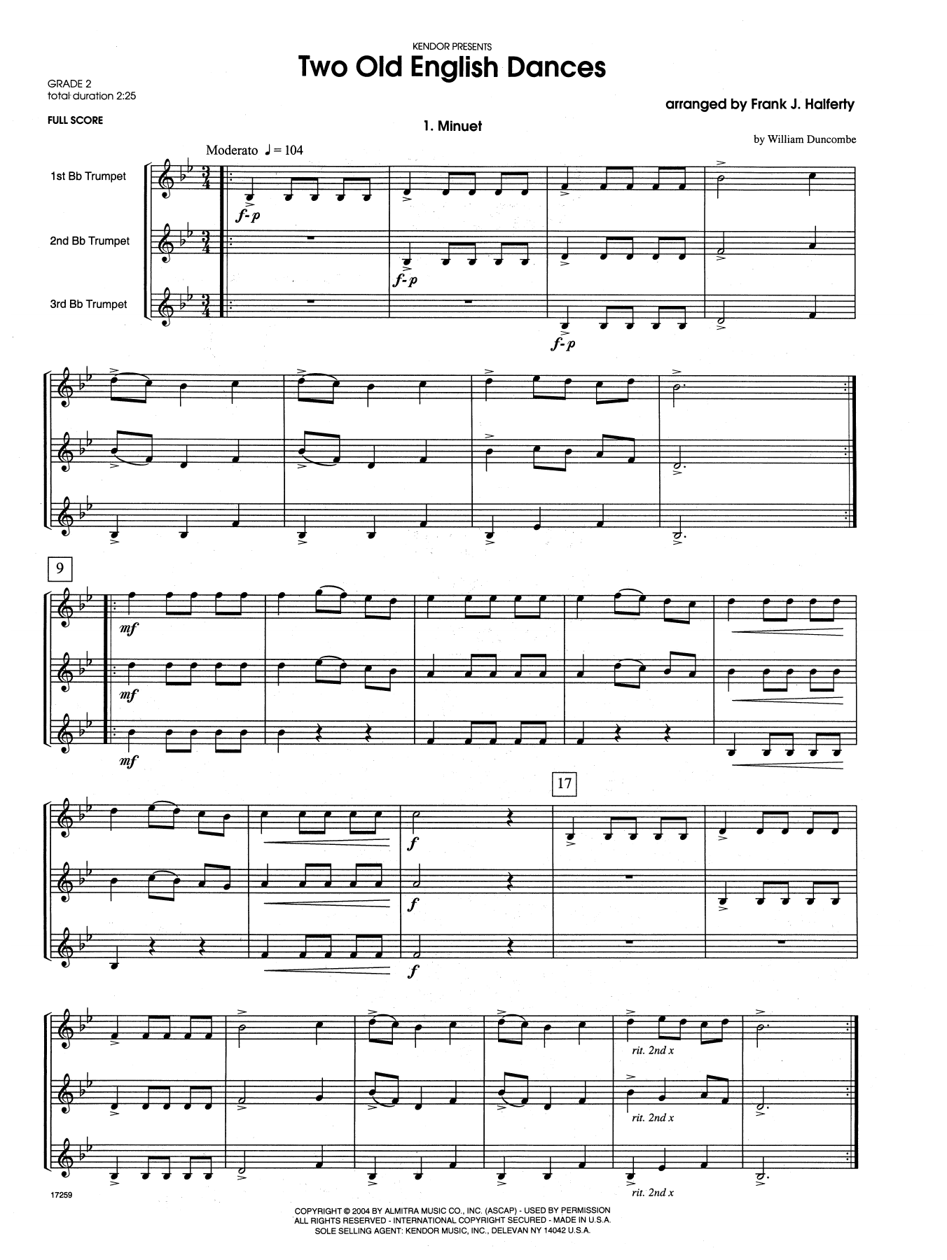 Two Old English Dances (COMPLETE) sheet music for three trumpets by Frank J. Halferty. Score Image Preview.