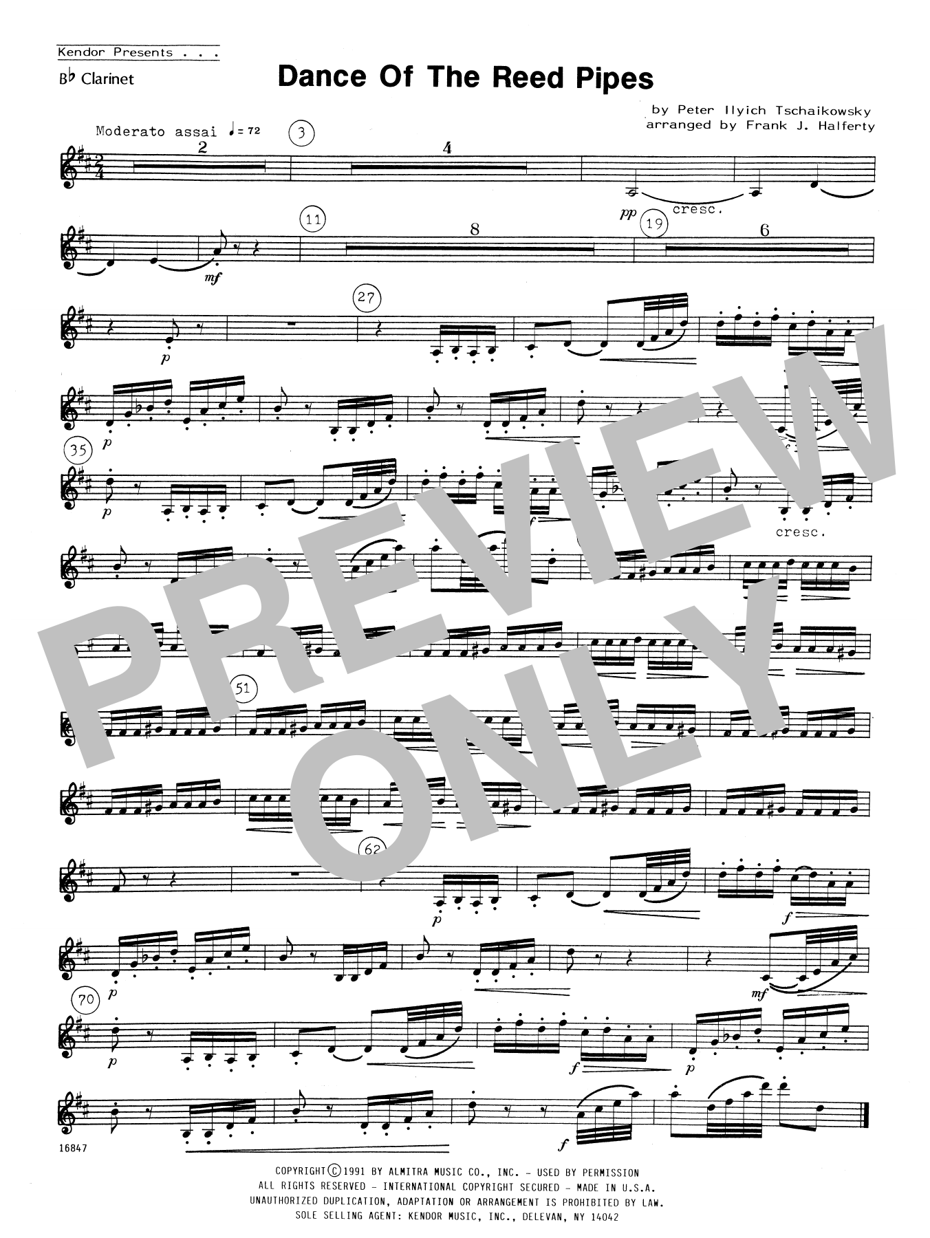 Dance Of The Reed Pipes - Bb Clarinet Sheet Music