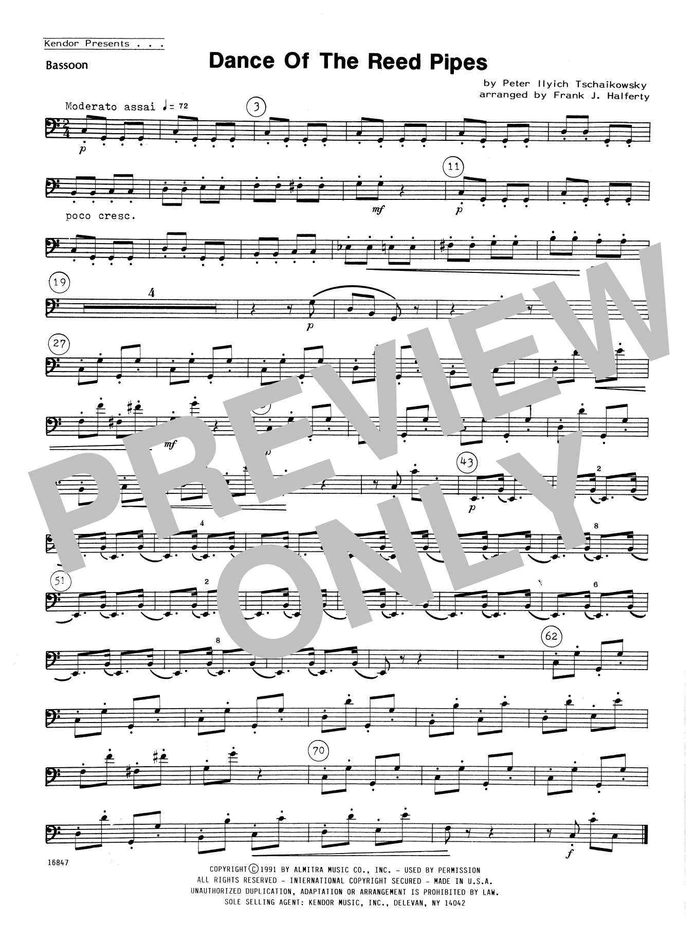 Dance Of The Reed Pipes - Bassoon Sheet Music