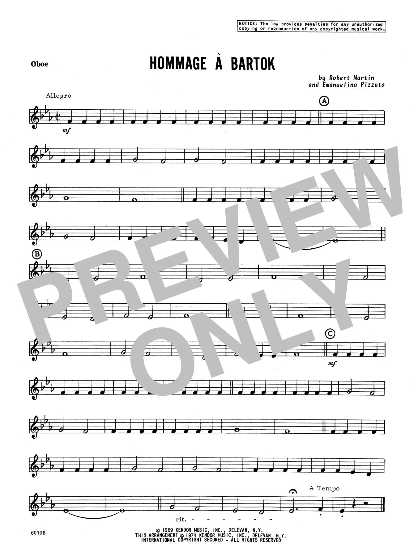 Hommage A Bartok - Oboe Sheet Music