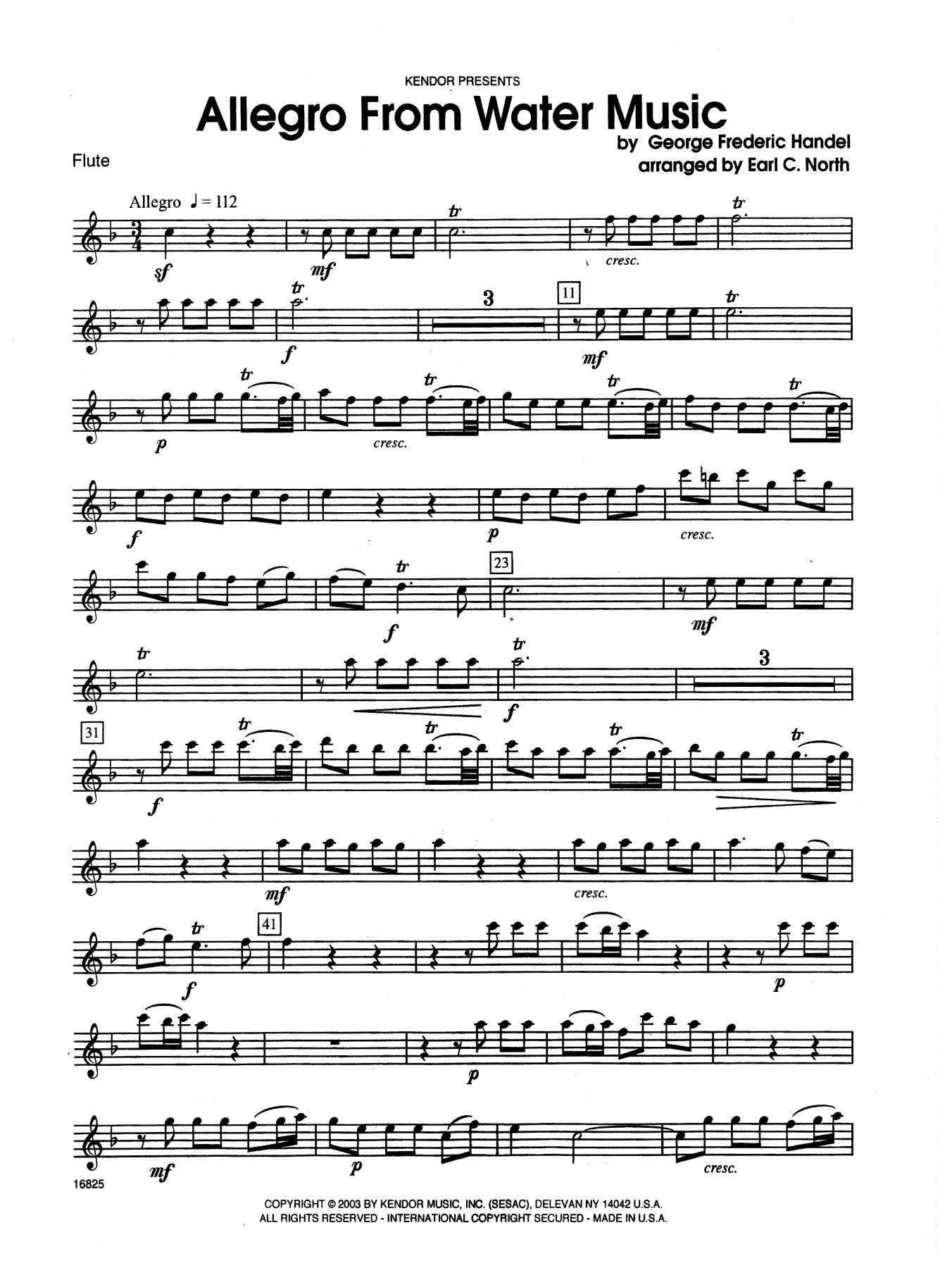 Allegro From Water Music - Flute Sheet Music
