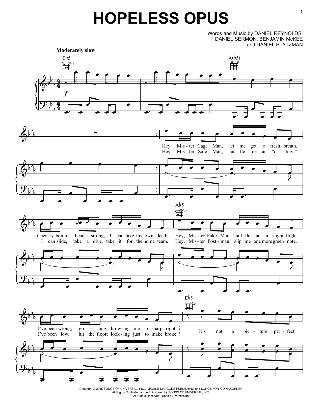 Hopeless Opus Sheet Music