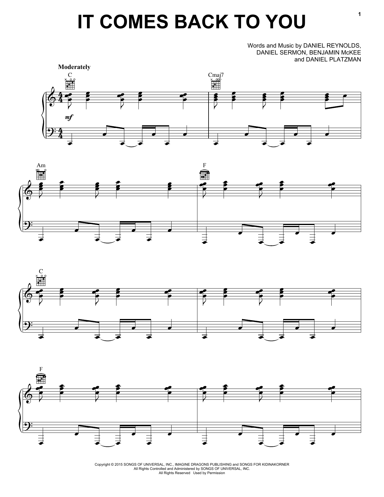 It Comes Back To You Sheet Music