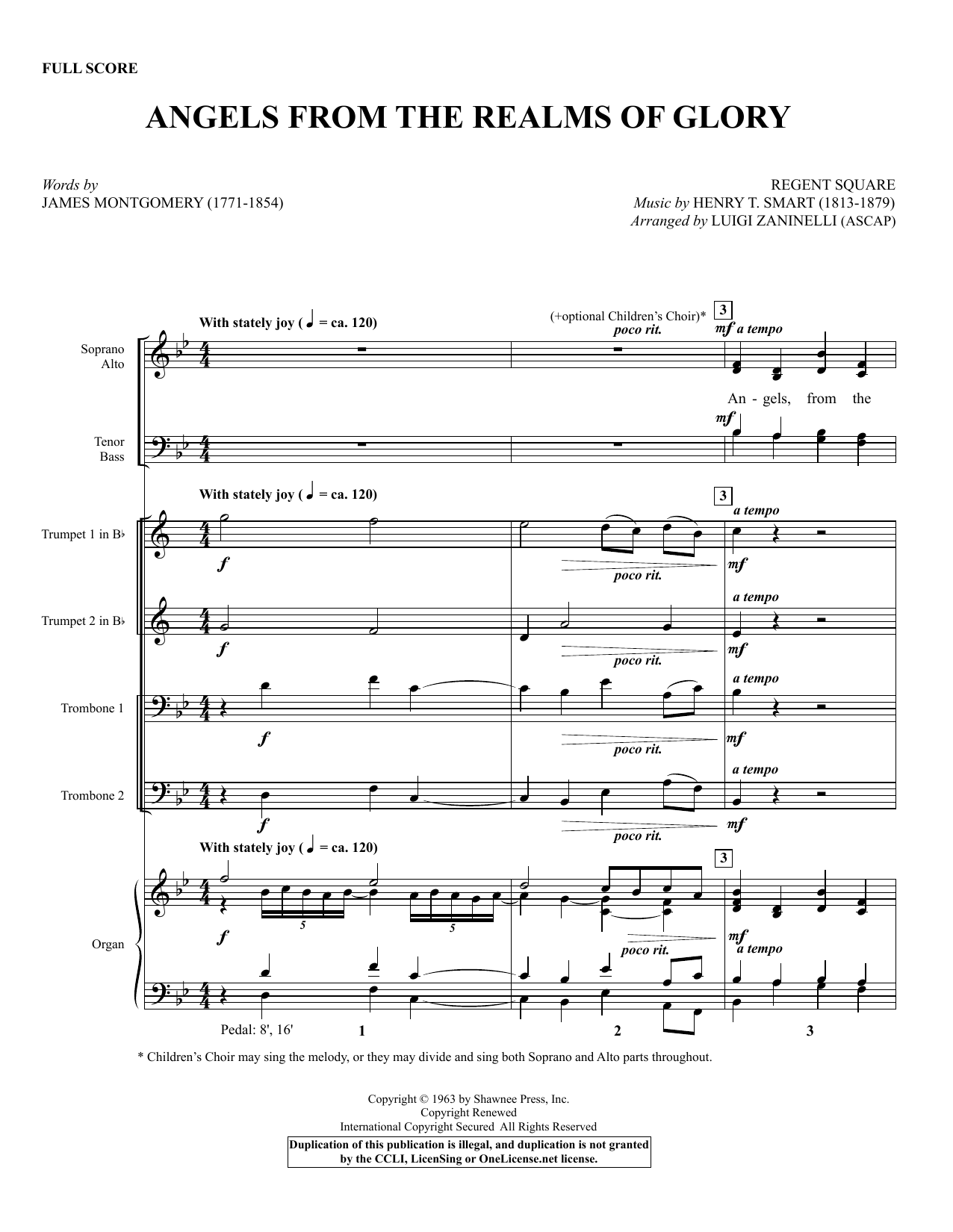 Angels from the Realms of Glory (COMPLETE) sheet music for orchestra/band by Luigi Zaninelli, Henry T. Smart and James Montgomery. Score Image Preview.