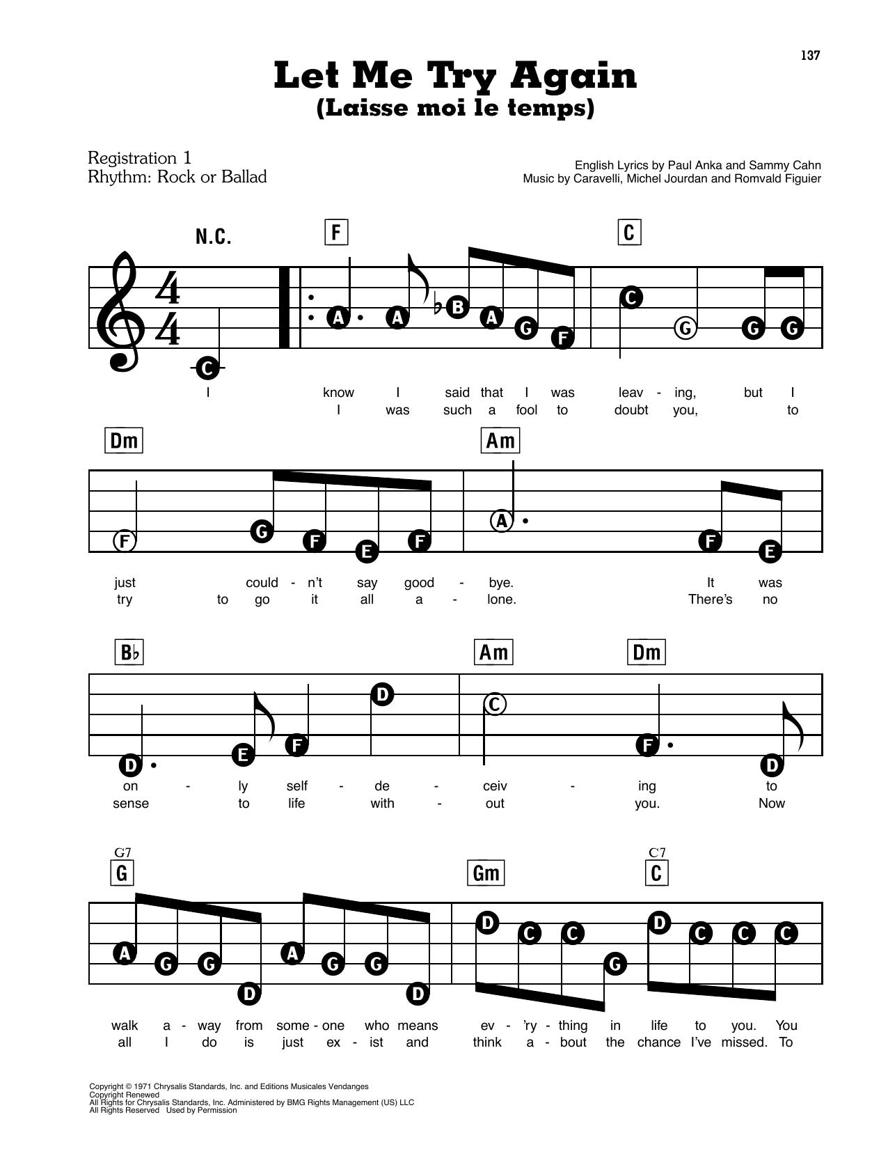 Let Me Try Again (Laisse Moi Le Temps) (E-Z Play Today)