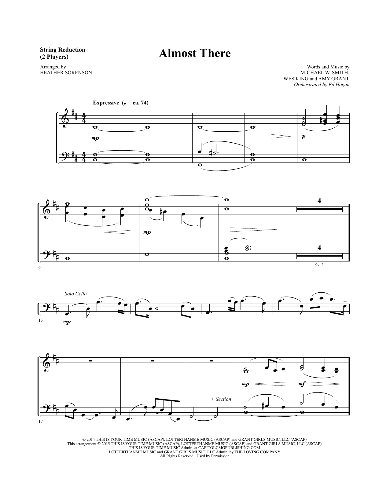 Almost There - Keyboard String Reduction Sheet Music