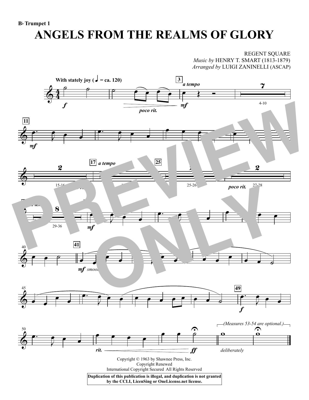 Angels from the Realms of Glory - Bb Trumpet 1 Sheet Music