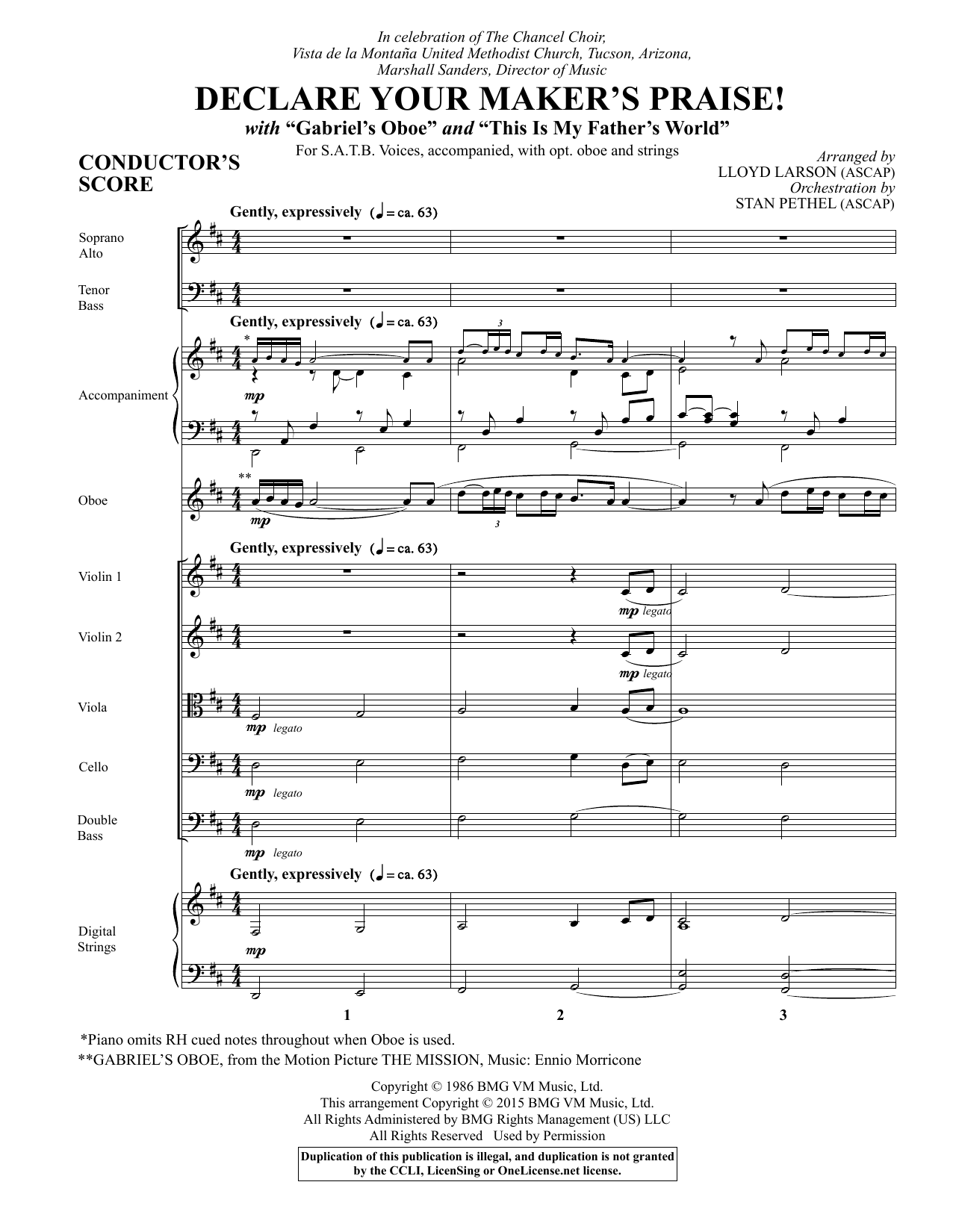Declare Your Maker's Praise! (COMPLETE) sheet music for orchestra/band by Lloyd Larson and Ennio Morricone. Score Image Preview.
