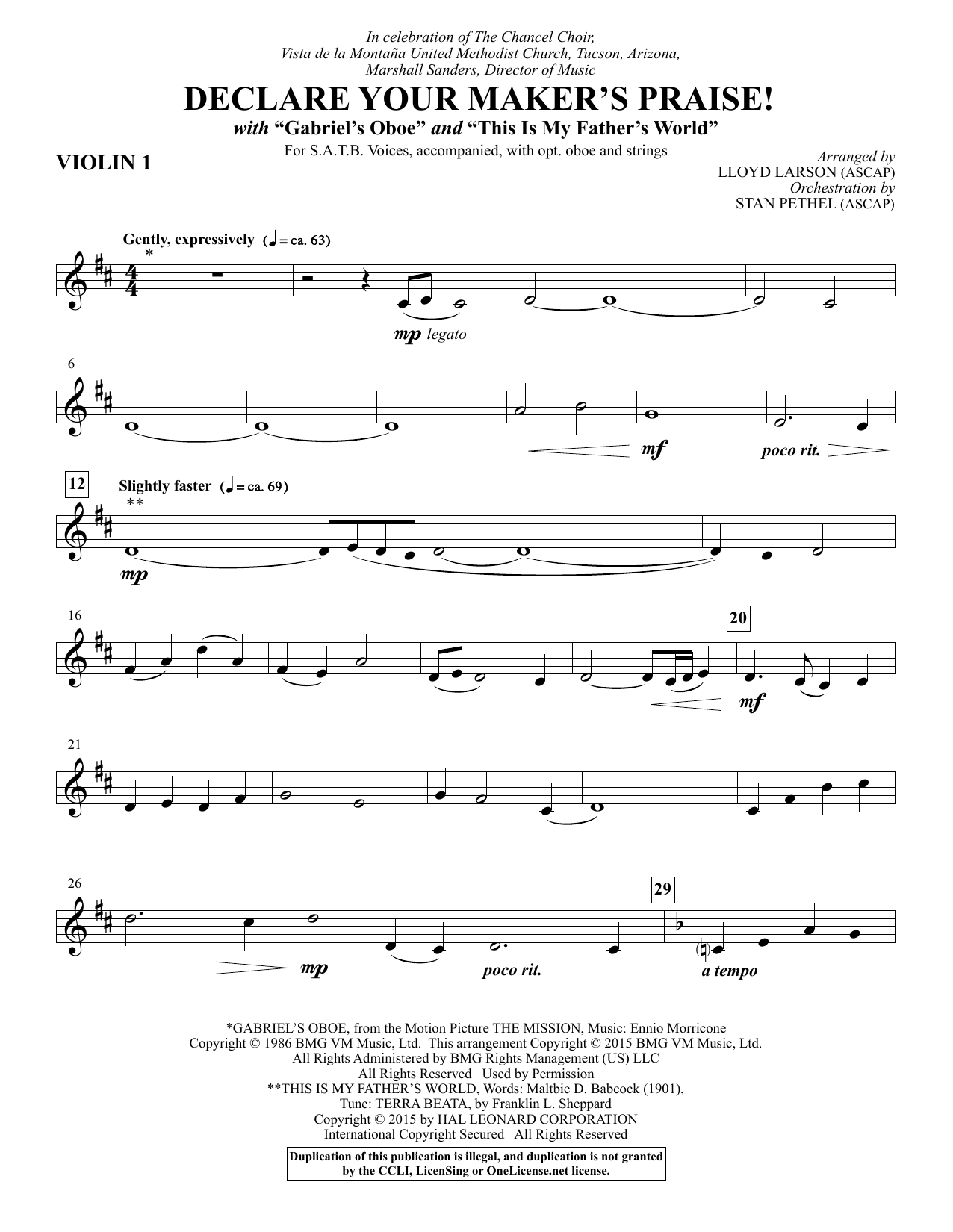Declare Your Maker's Praise! - Violin 1 Sheet Music