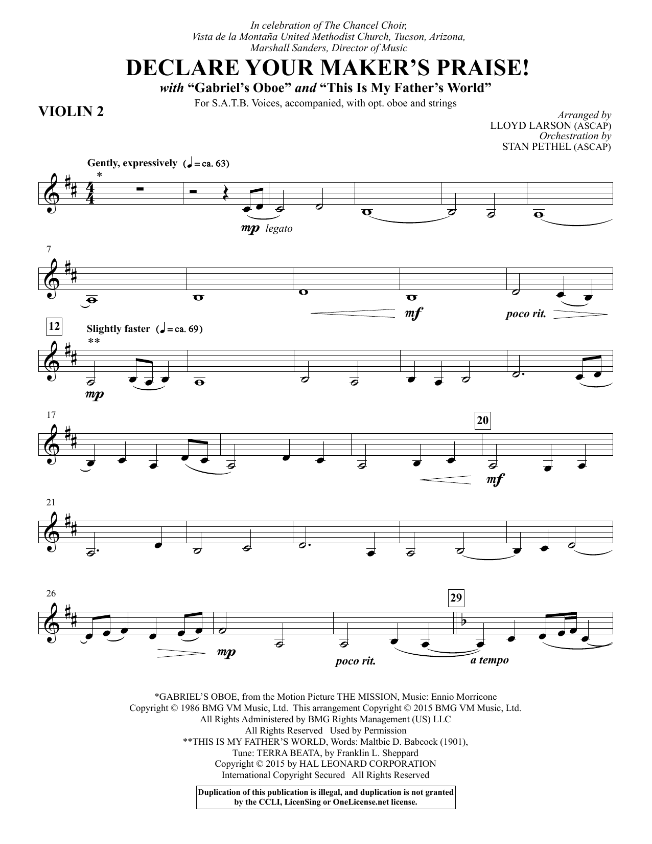 Declare Your Maker's Praise! - Violin 2 Sheet Music