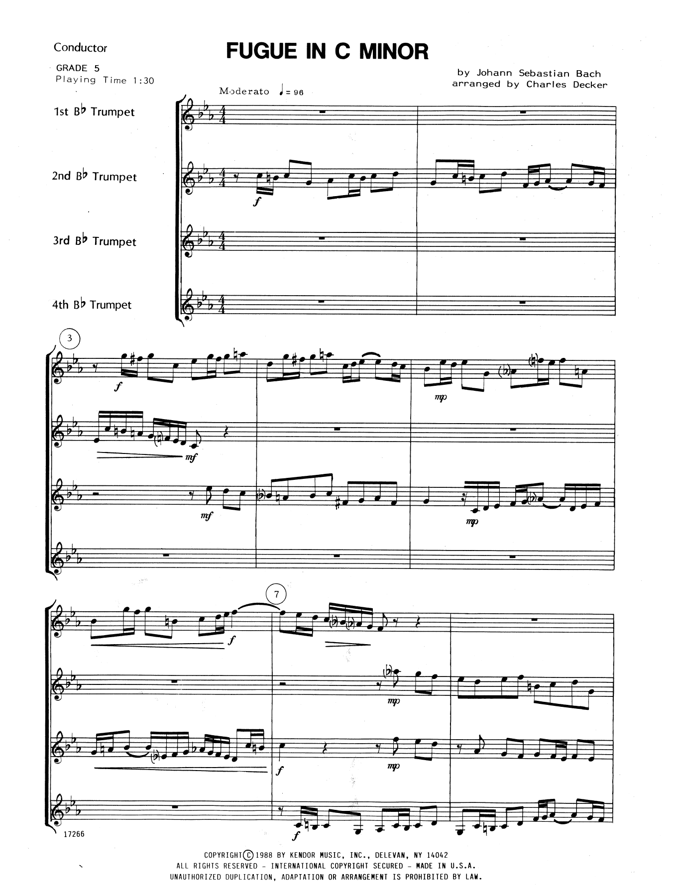 Fugue In C Minor (COMPLETE) sheet music for trumpet quartet by Charles Decker and Johann Sebastian Bach. Score Image Preview.