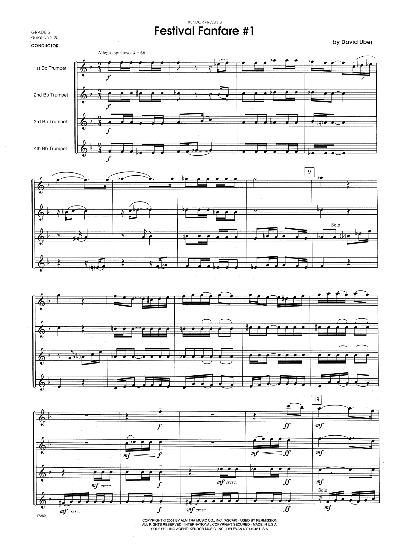 Festival Fanfare #1 (COMPLETE) sheet music for trumpet quartet by David Uber. Score Image Preview.
