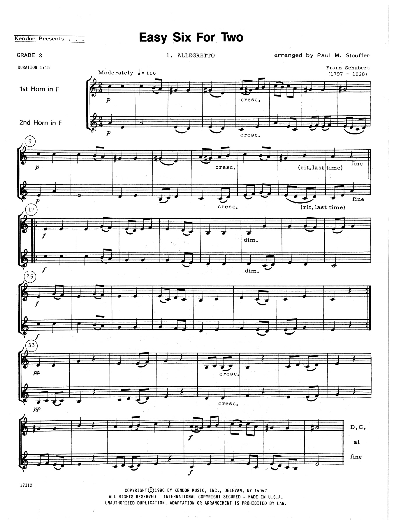 Easy Six For Two Sheet Music