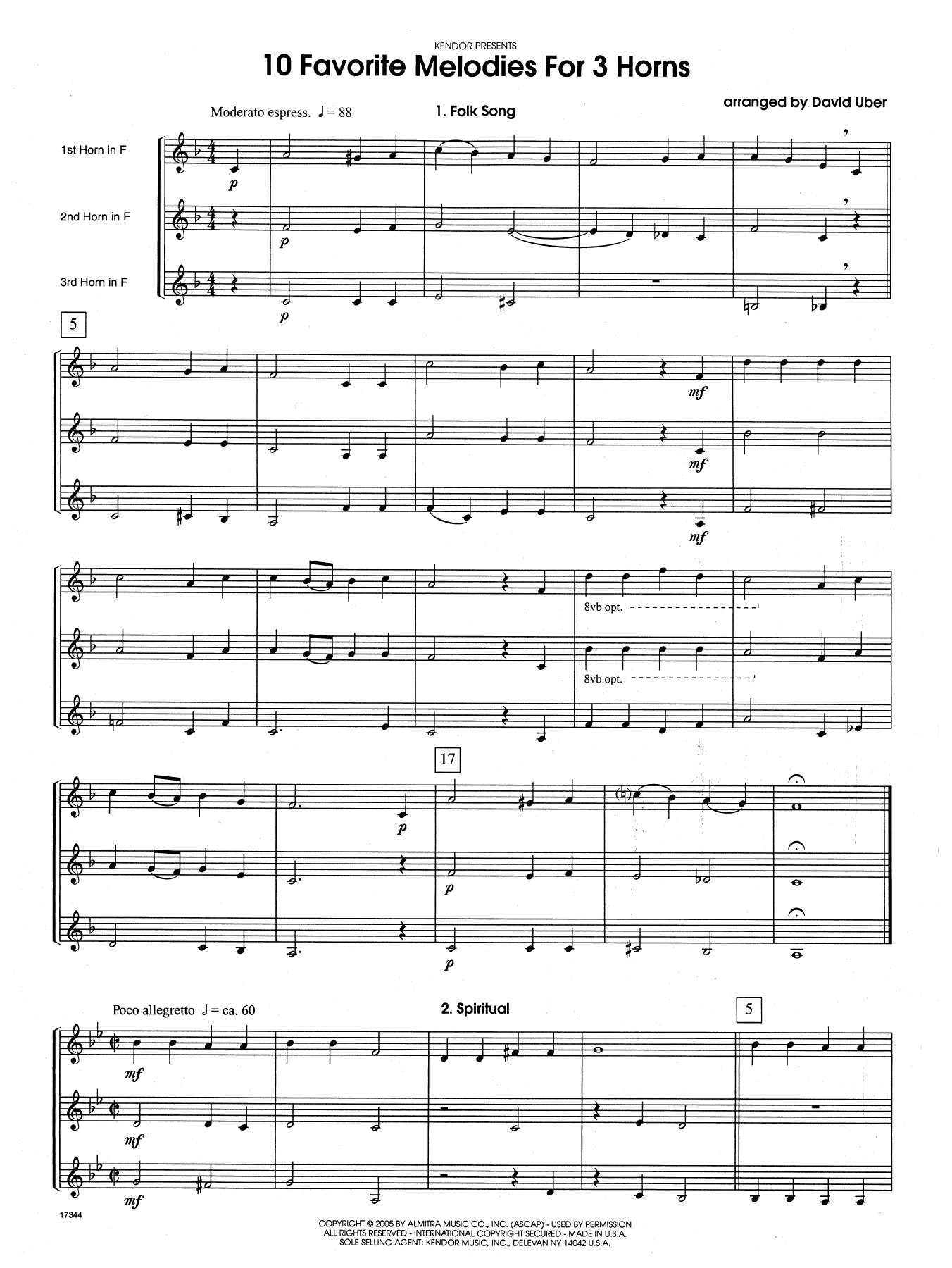 10 Favorite Melodies For 3 Horns (COMPLETE) sheet music for horn trio by David Uber. Score Image Preview.