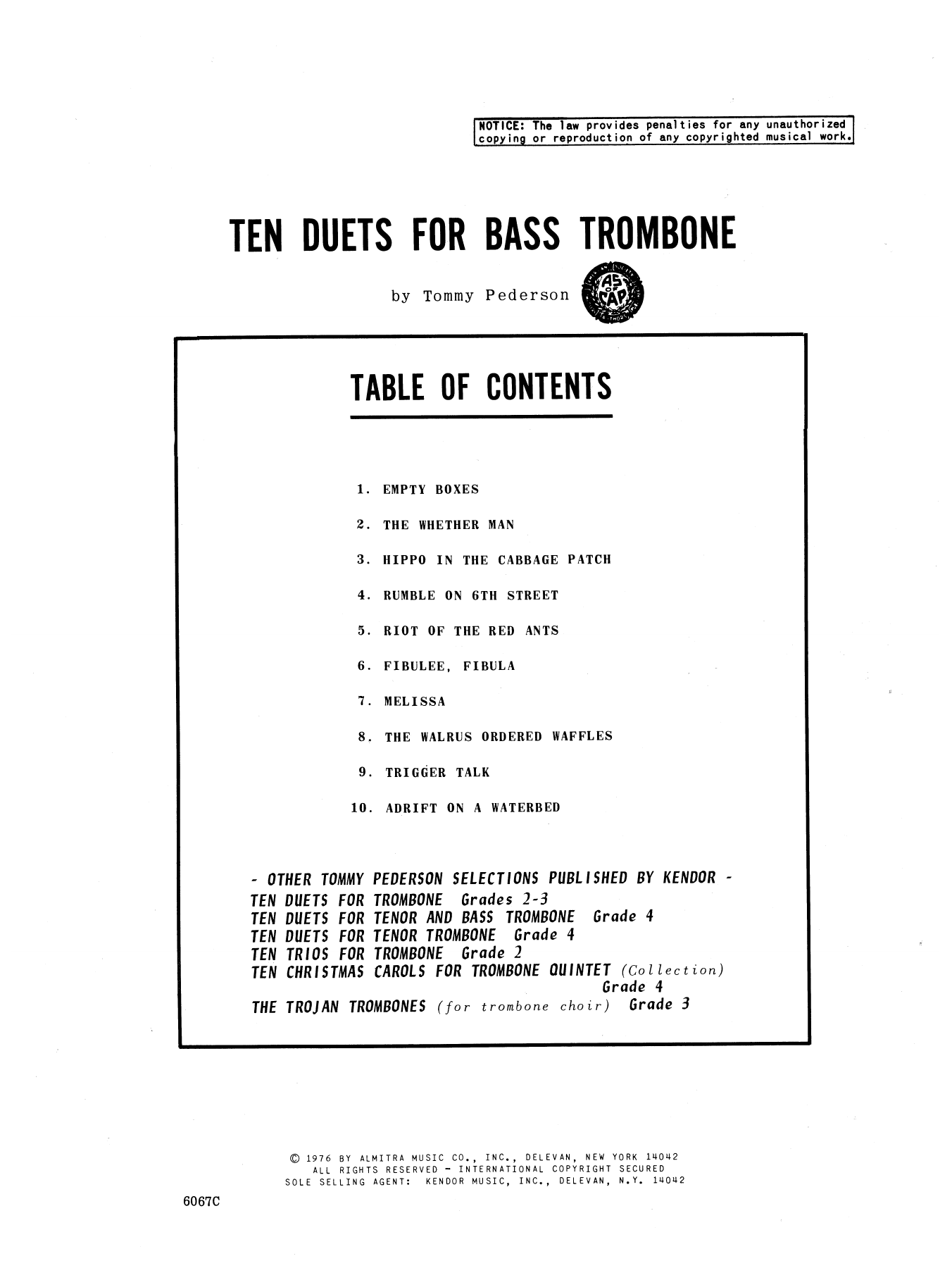 Ten Duets For Bass Trombone Sheet Music