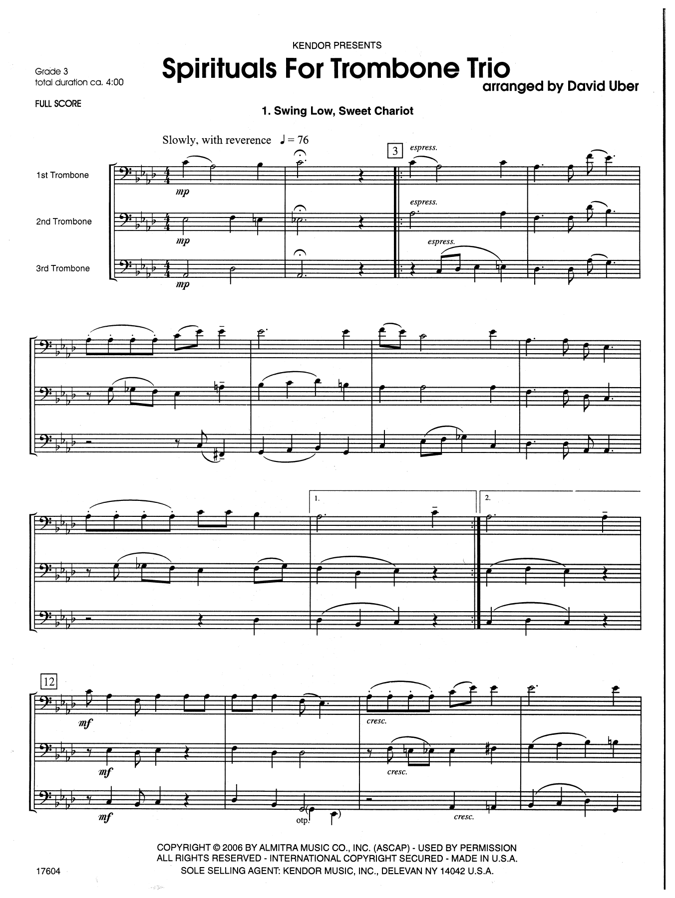 Spirituals For Trombone Trio (COMPLETE) sheet music for trombone trio by David Uber. Score Image Preview.