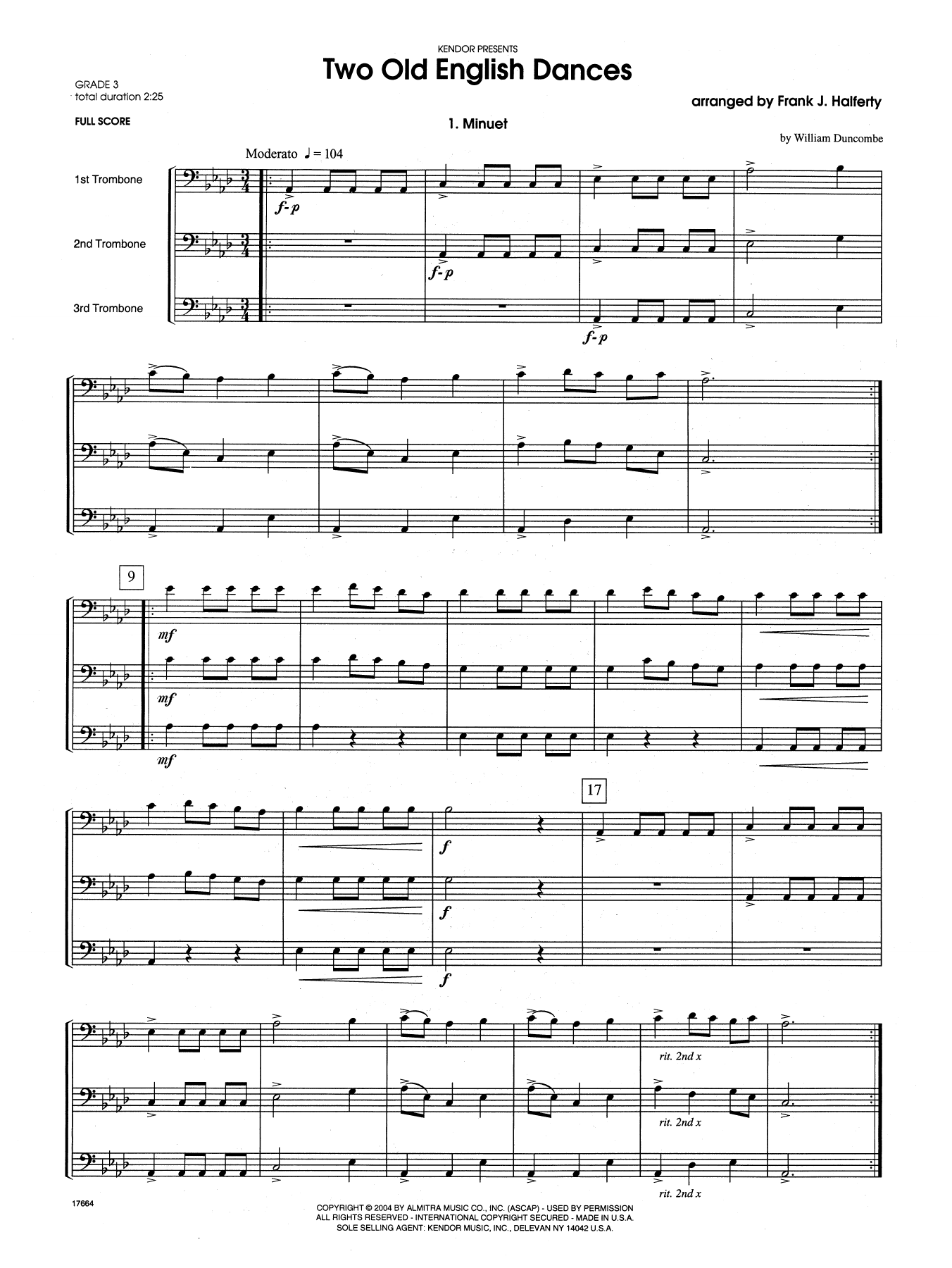 Two Old English Dances (COMPLETE) sheet music for three trombones by Frank J. Halferty. Score Image Preview.