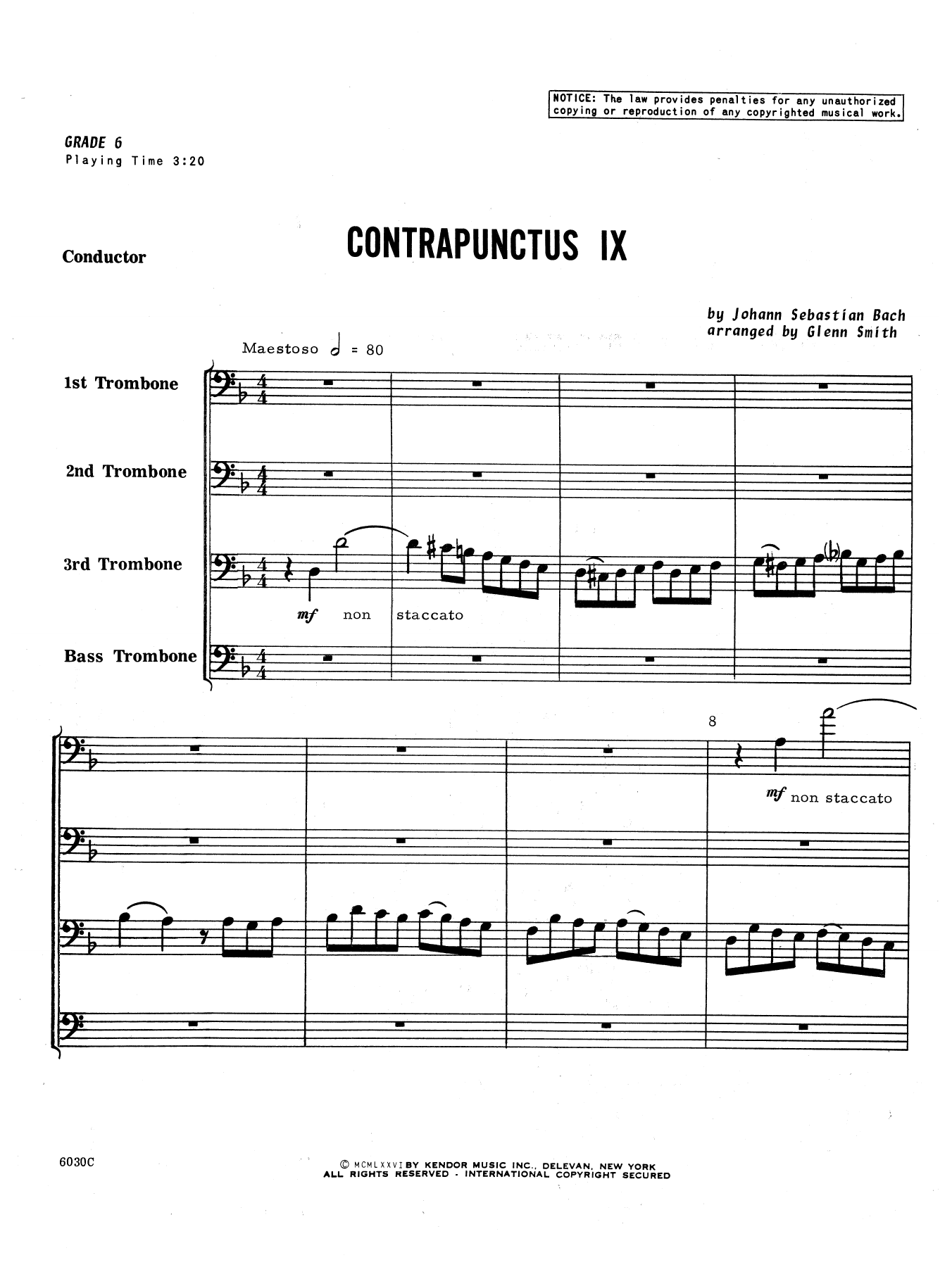 Contrapunctus IX (COMPLETE) sheet music for trombone quartet by Glen Smith and Johann Sebastian Bach. Score Image Preview.