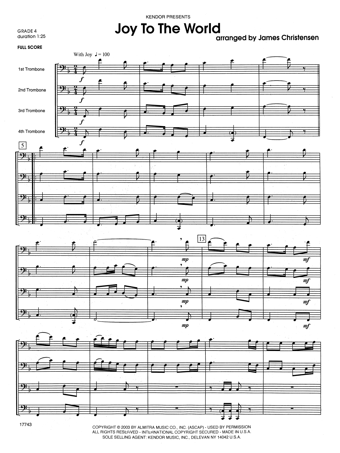 Joy to the World (COMPLETE) sheet music for trombone quartet by James Christensen. Score Image Preview.