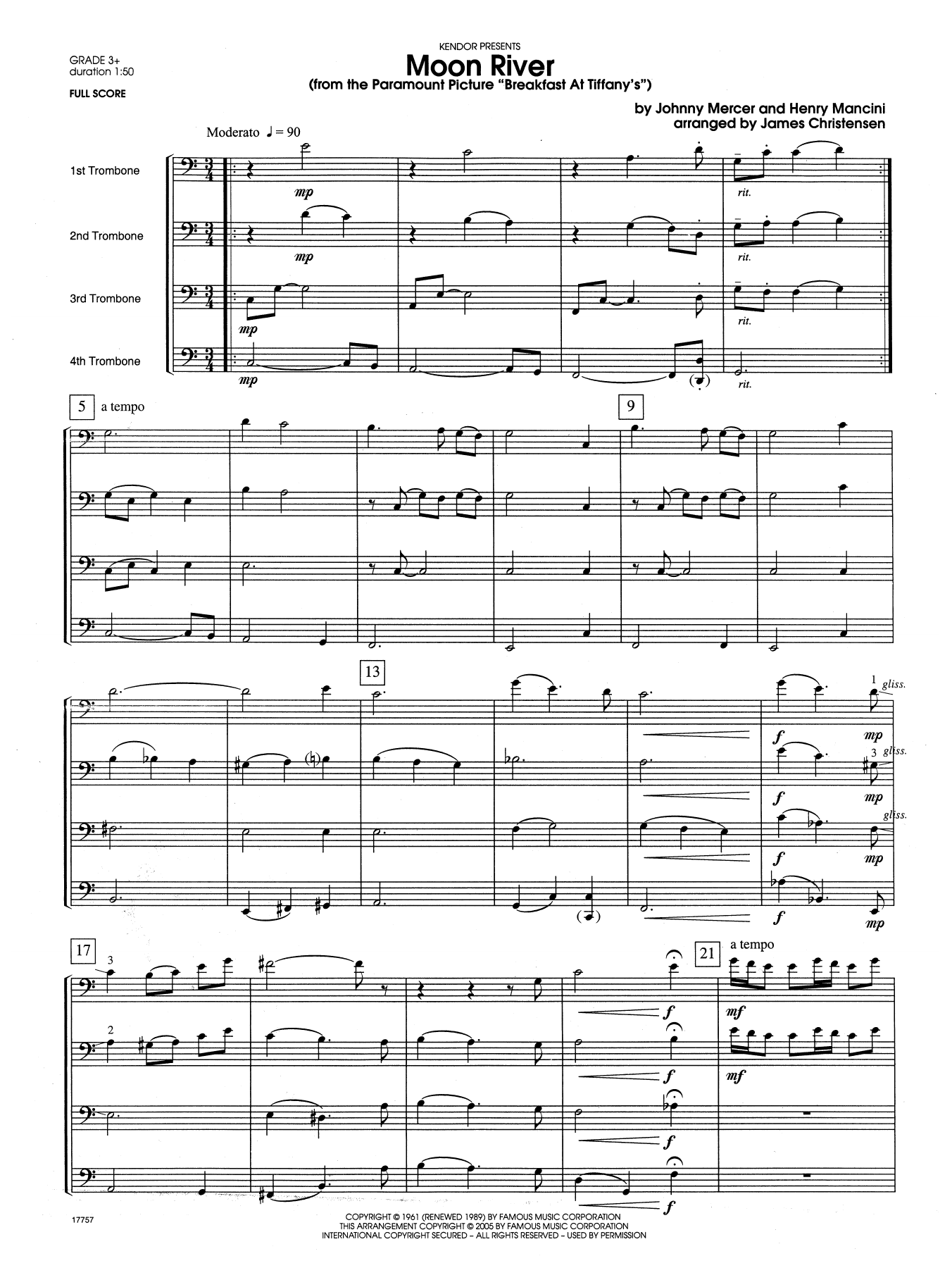 Moon River (From The Paramount Picture Breakfast At Tiffany's) (COMPLETE) sheet music for four trombones by James Christensen and Mercer & Mancini. Score Image Preview.