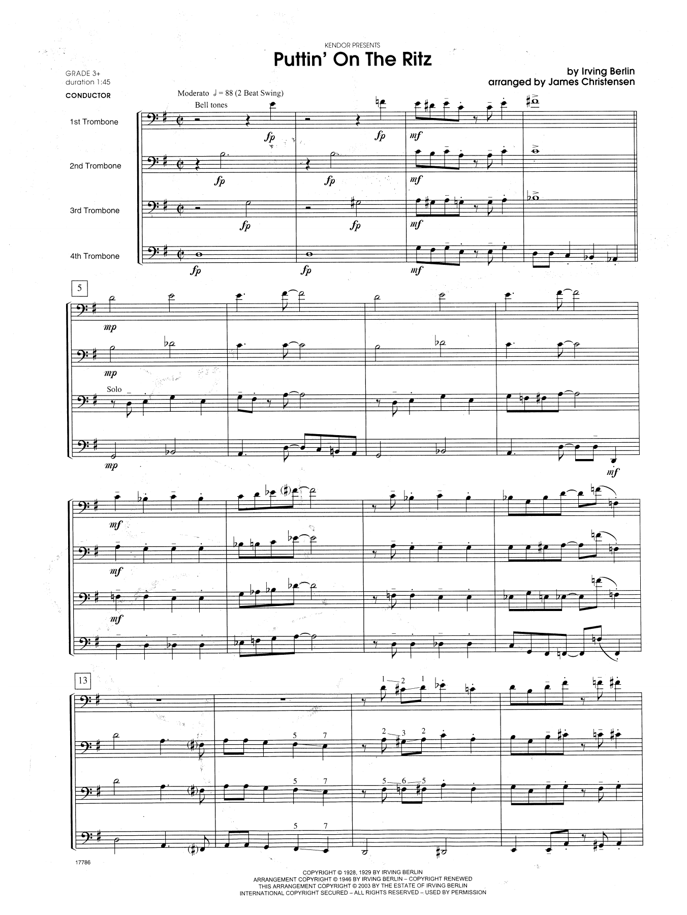 Puttin' on the Ritz - Full Score Sheet Music