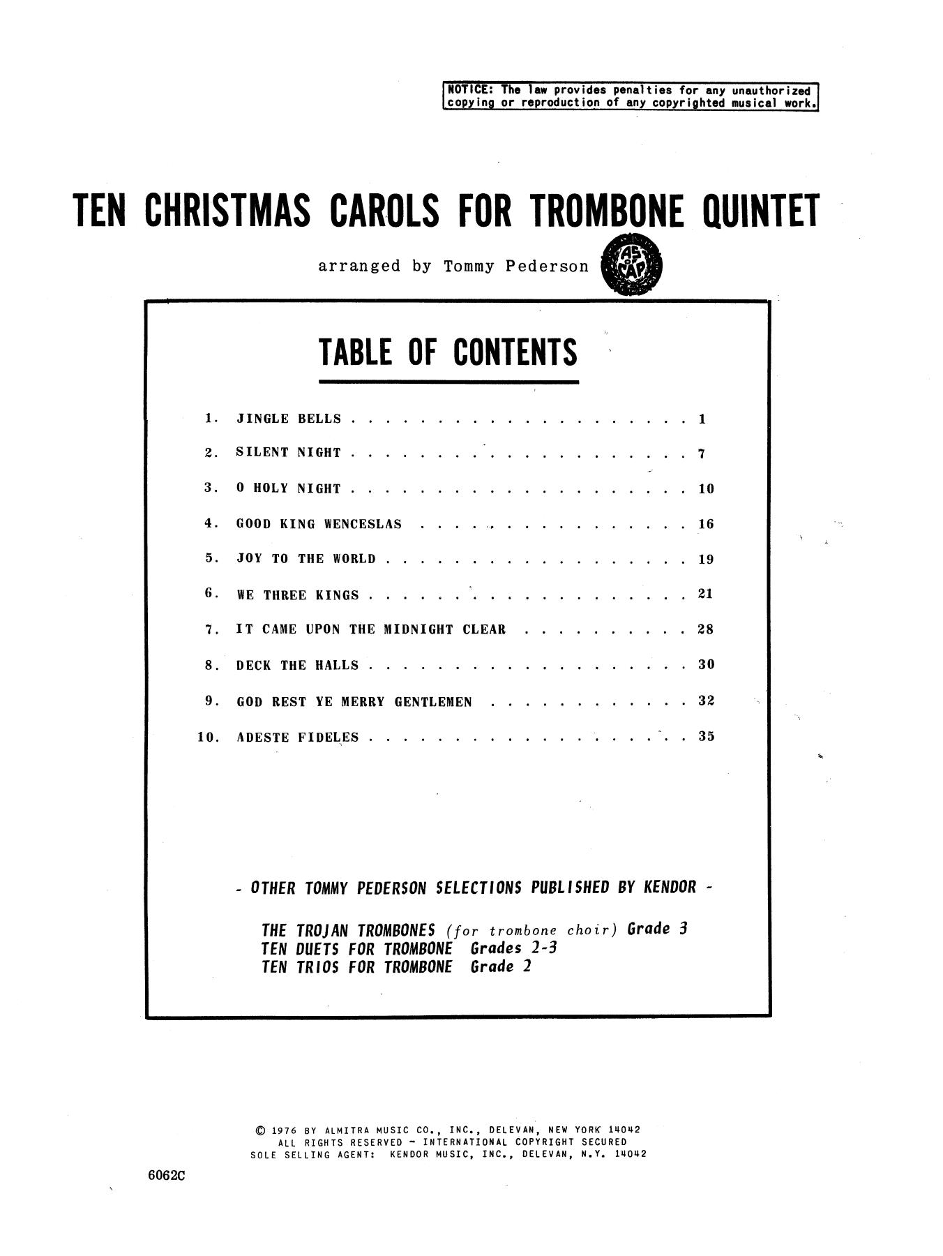 Ten Christmas Carols For Trombone Quintet/Full Score Sheet Music