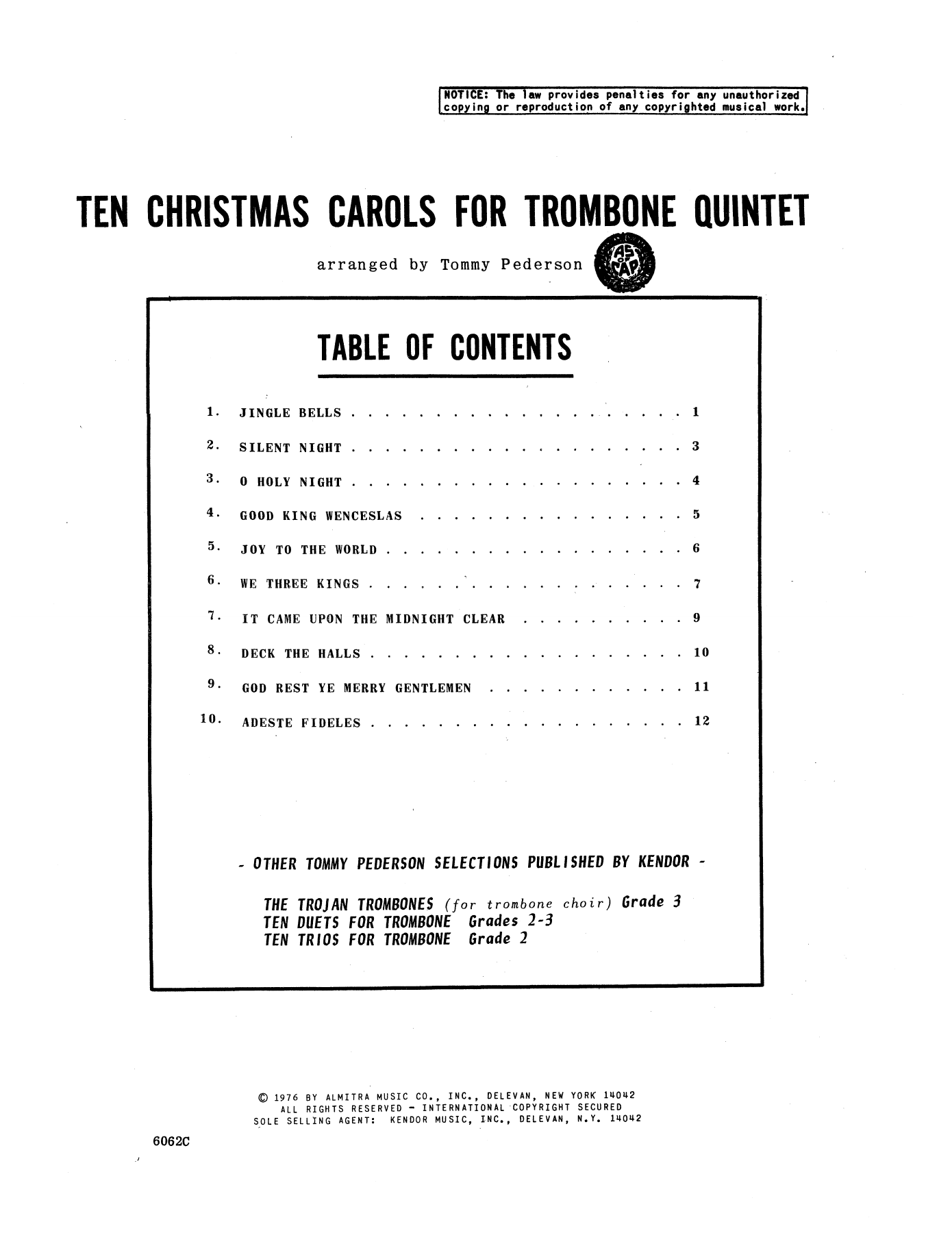 Ten Christmas Carols For Trombone Quintet/3rd Trombone Sheet Music