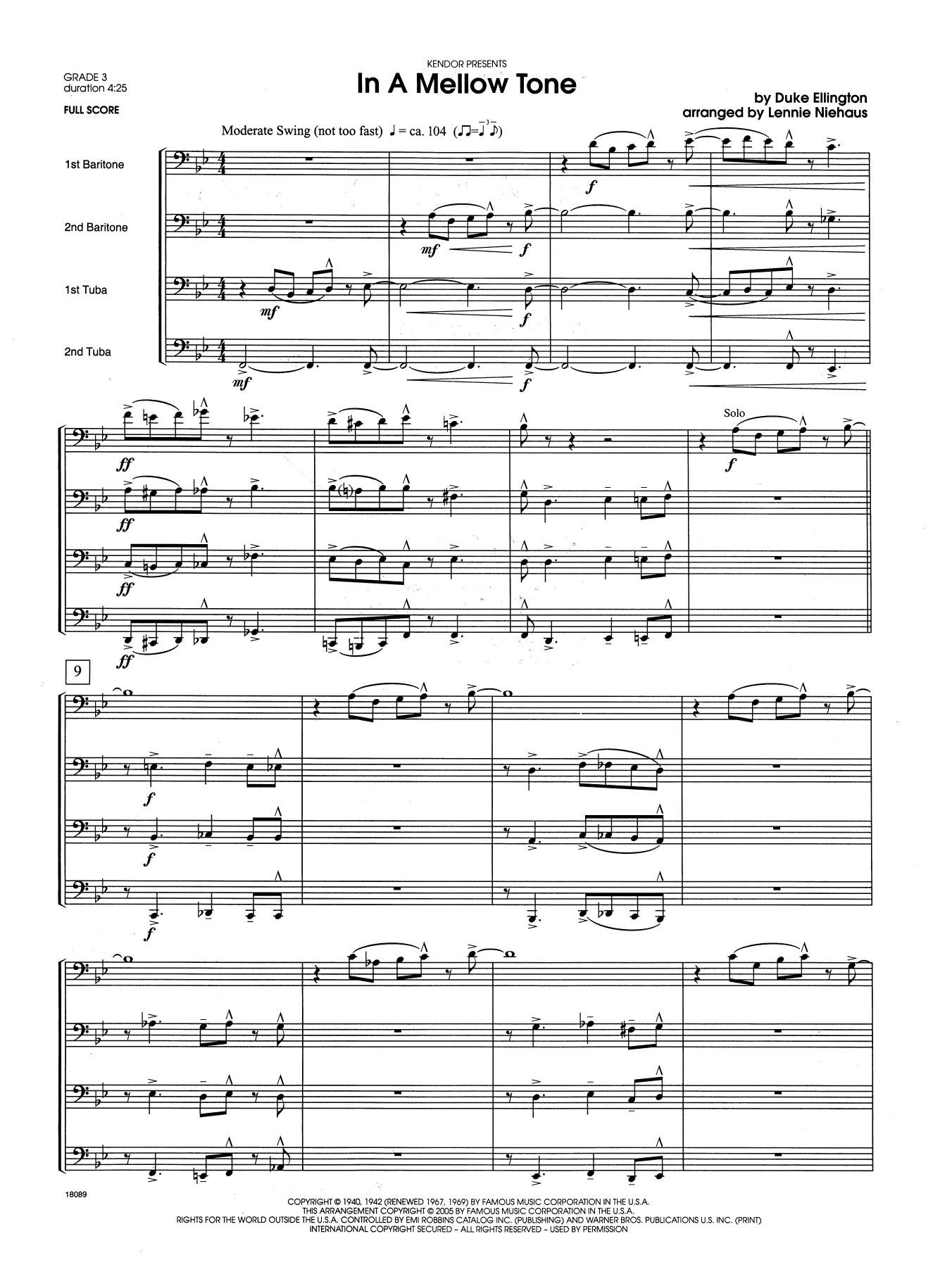 In a Mellow Tone (COMPLETE) sheet music for brass quartet by Lennie Niehaus and Duke Ellington. Score Image Preview.