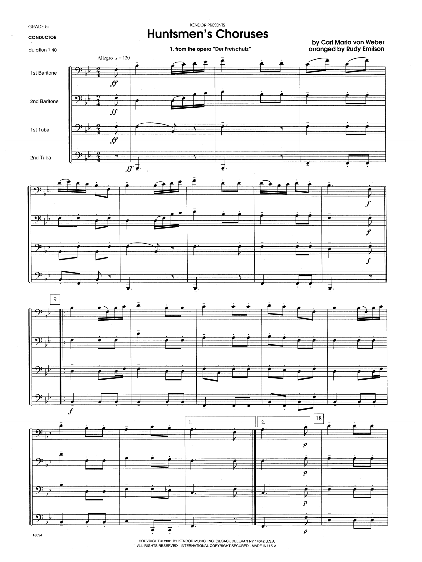 Huntsmen's Choruses (COMPLETE) sheet music for brass quartet by Rudy Emilson and Carl Maria Von Weber. Score Image Preview.
