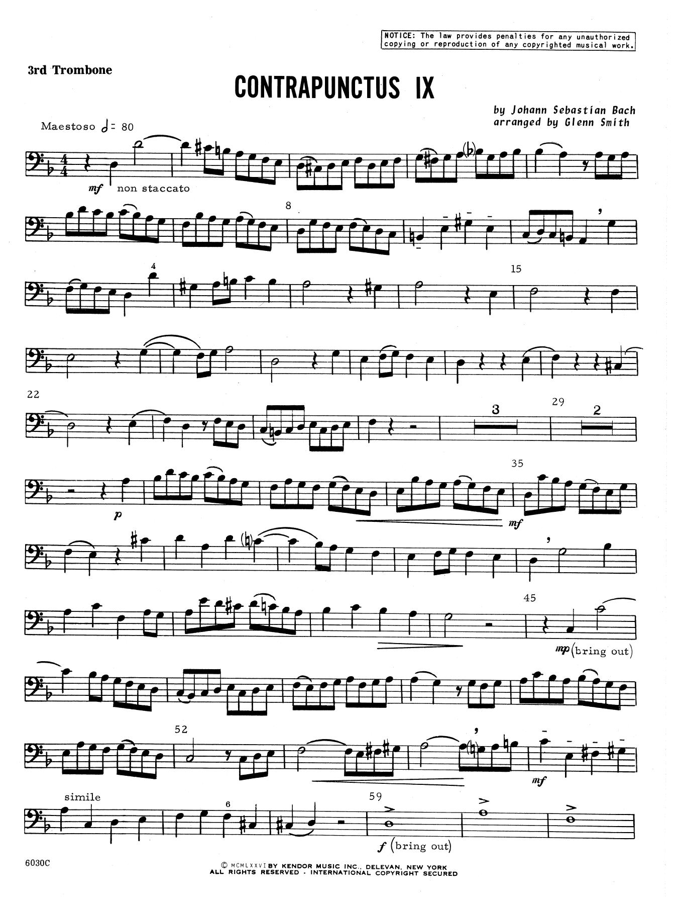 Contrapunctus IX - 3rd Trombone Sheet Music