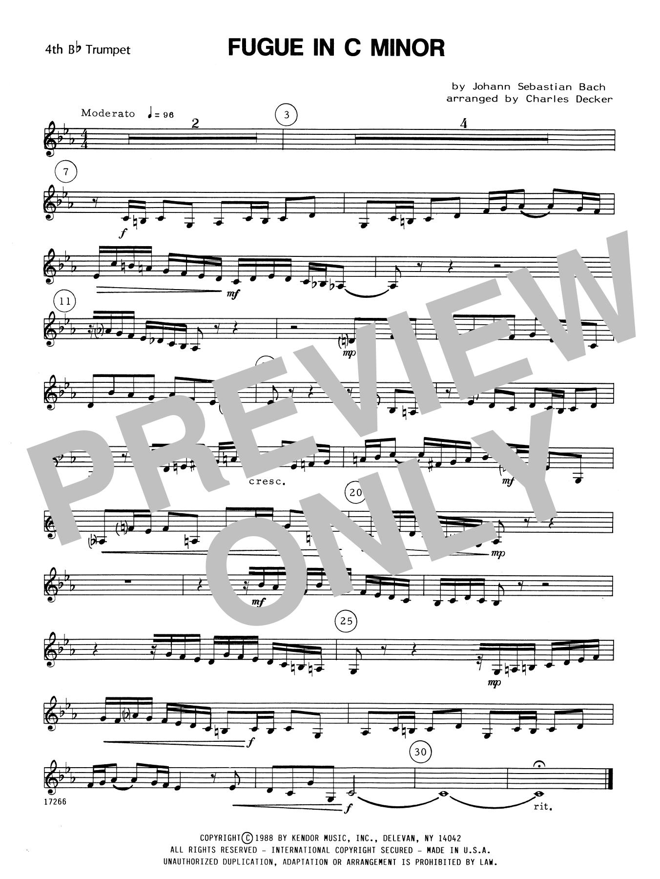 Fugue In C Minor - 4th Bb Trumpet Sheet Music