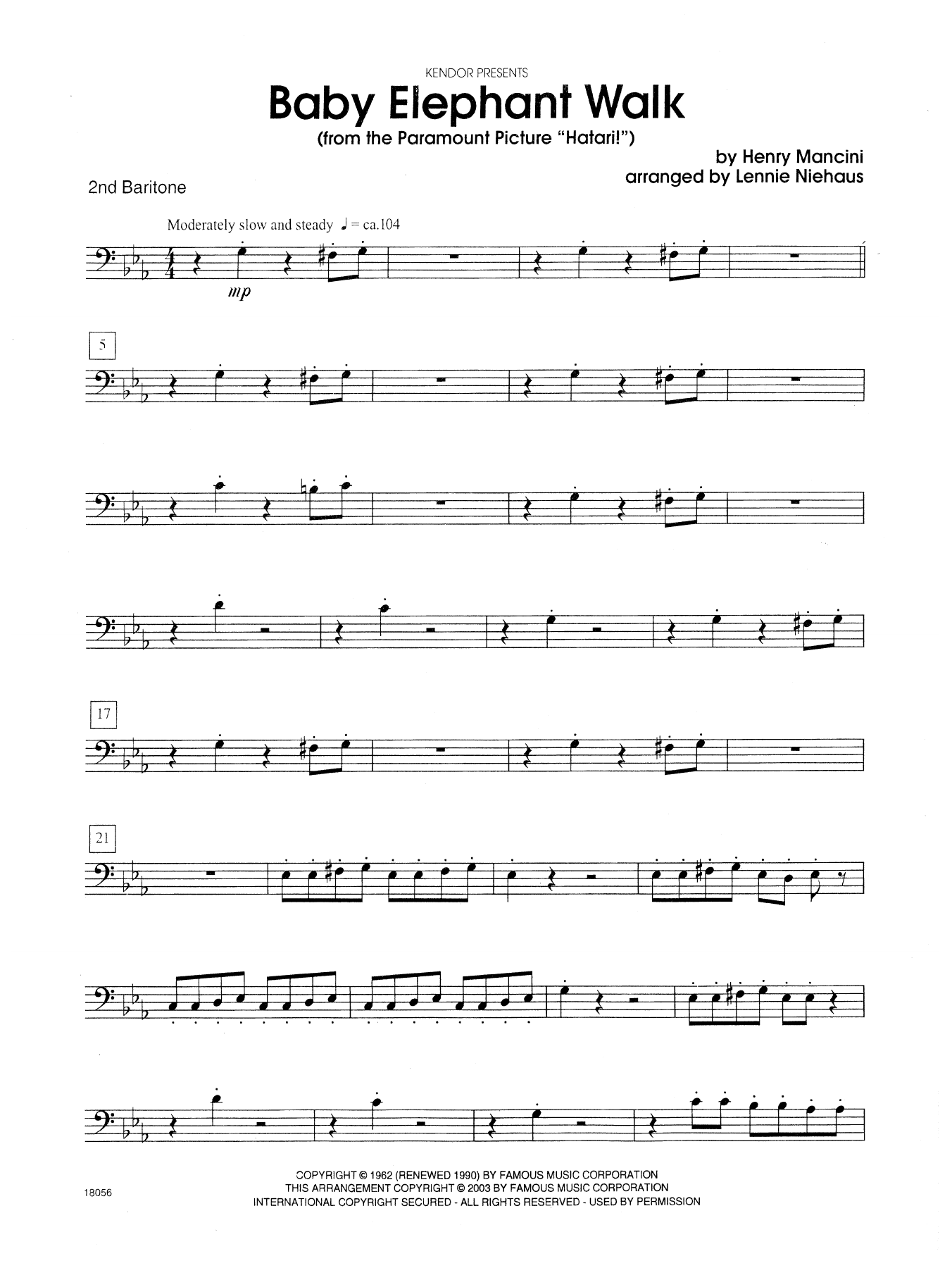 "Baby Elephant Walk (From The Paramount Picture ""Hatari!"") - 2nd Baritone B.C. Sheet Music"