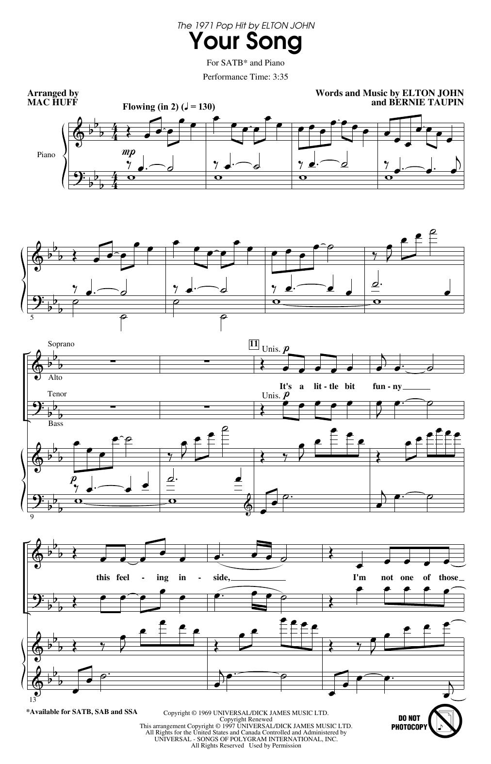 Your Song (arr. Mac Huff) Sheet Music
