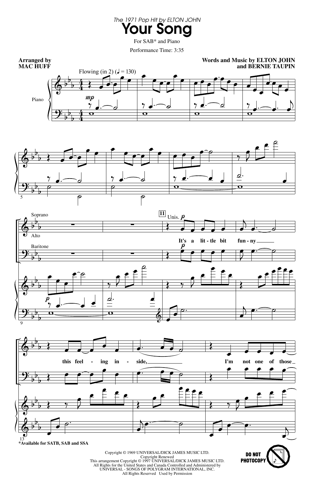 Your Song (arr. Mac Huff) (SAB Choir)