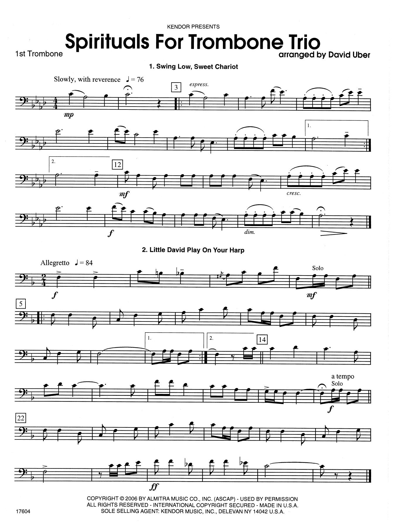 Spirituals For Trombone Trio - 1st Trombone Sheet Music