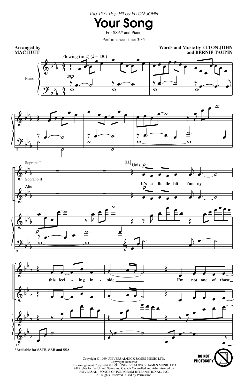 Your Song (arr. Mac Huff) Sheet Music