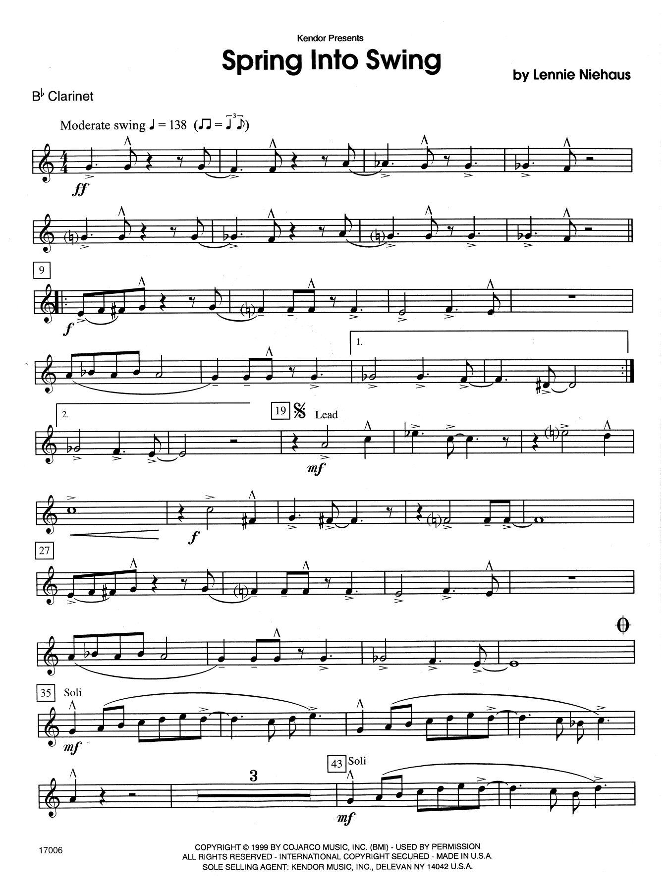 Spring Into Swing - Bb Clarinet Sheet Music