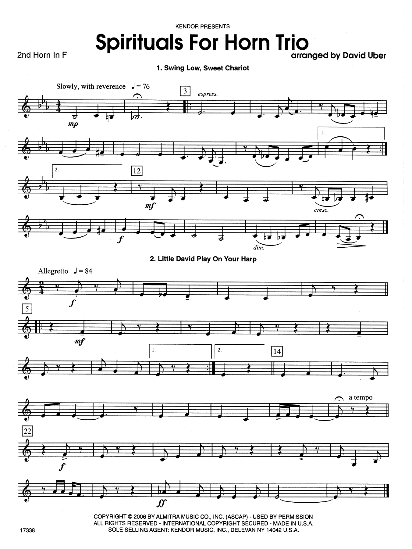 Spirituals For Horn Trio - 2nd Horn in F Sheet Music