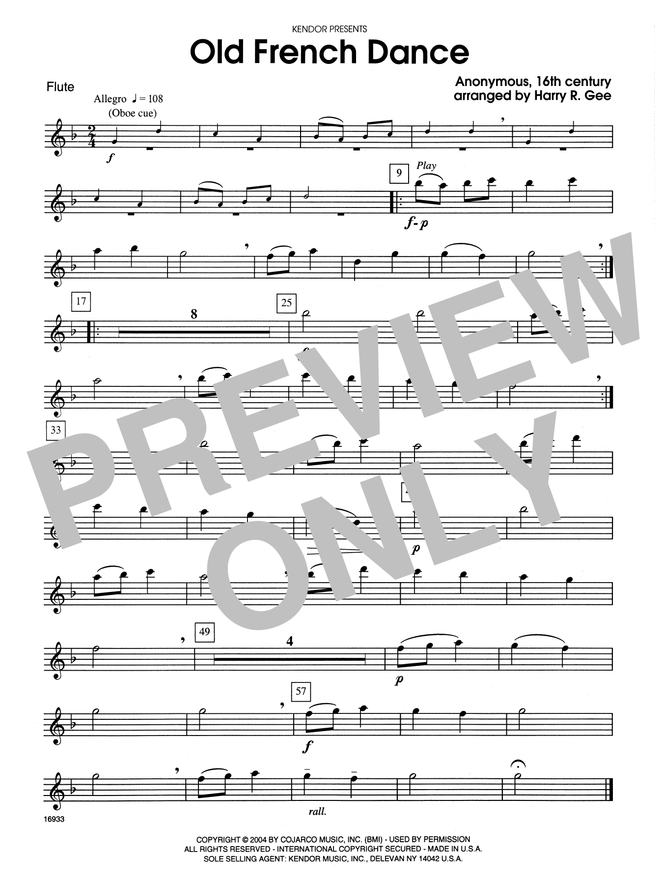 Old French Dance - Flute Sheet Music