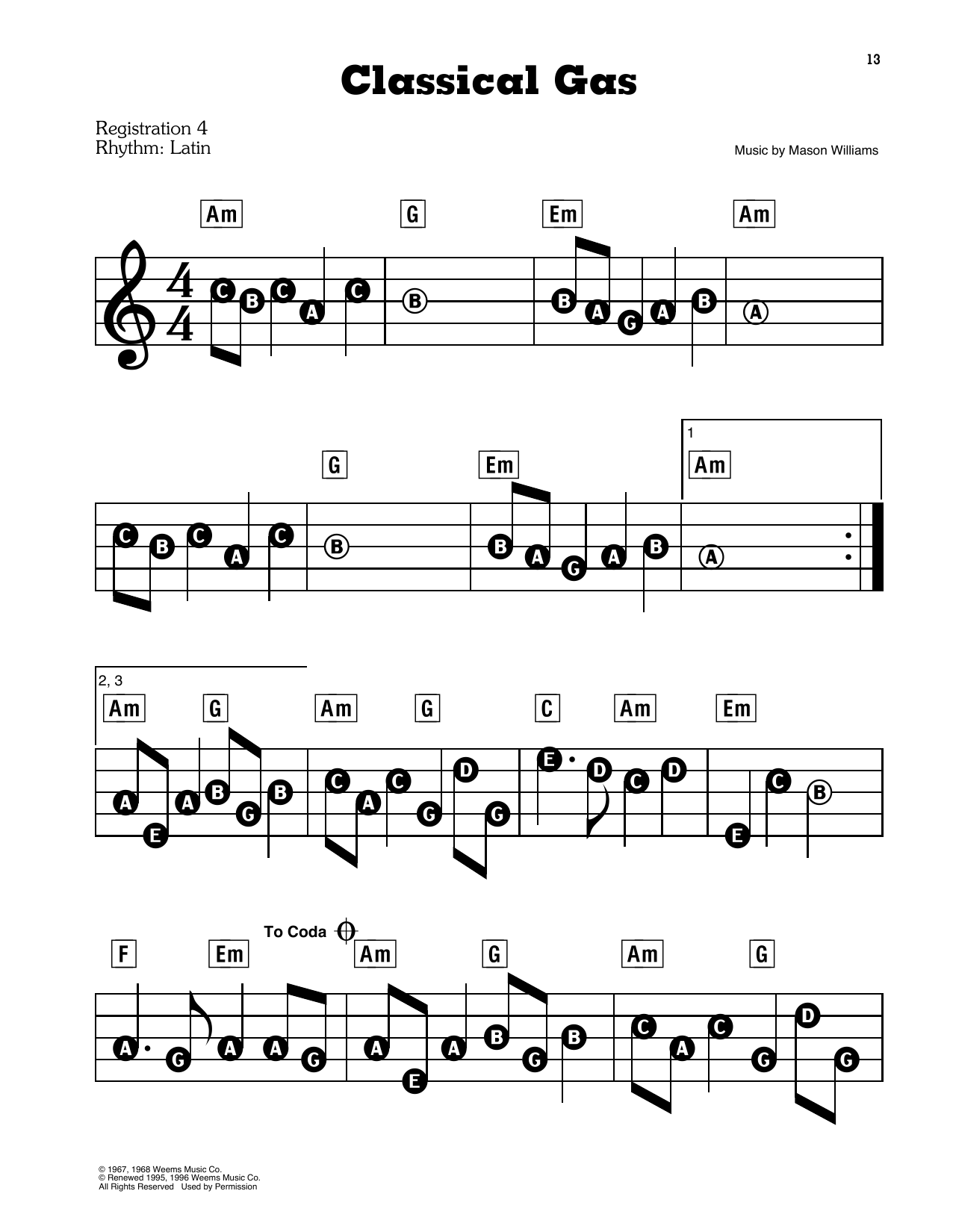Classical Gas Sheet Music