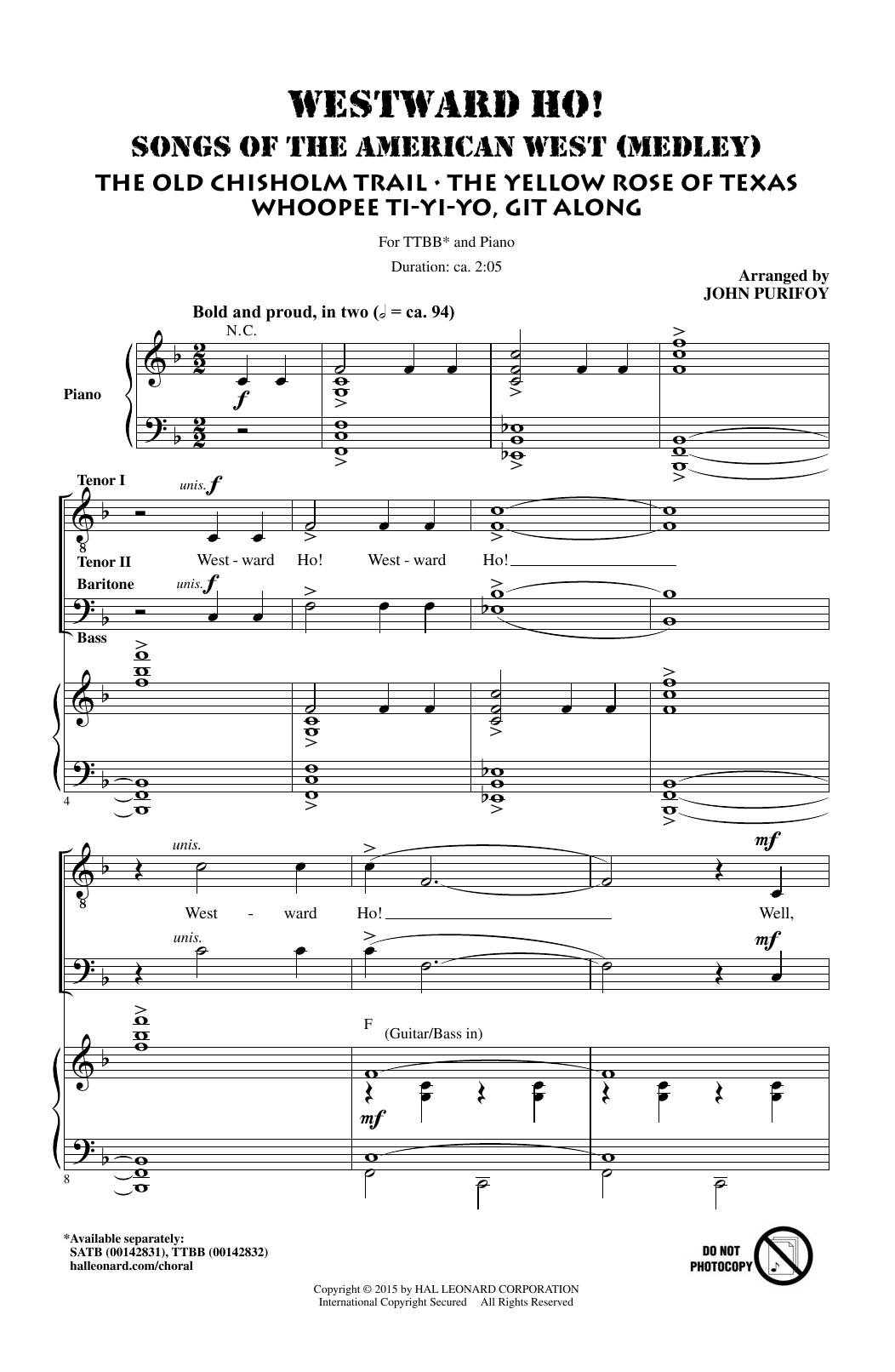 Westward Ho! Songs of the American West (Medley) Sheet Music