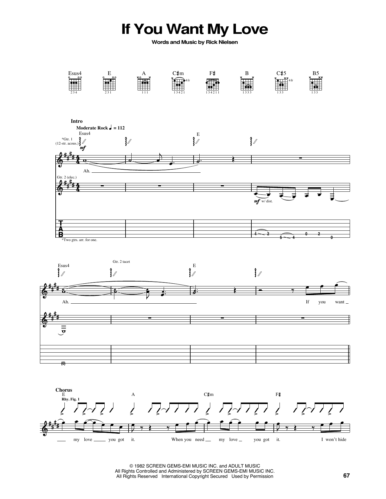 Tablature guitare If You Want My Love de Cheap Trick - Tablature Guitare