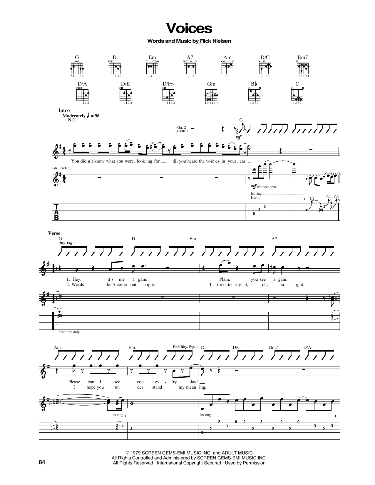Tablature guitare Voices de Cheap Trick - Tablature Guitare