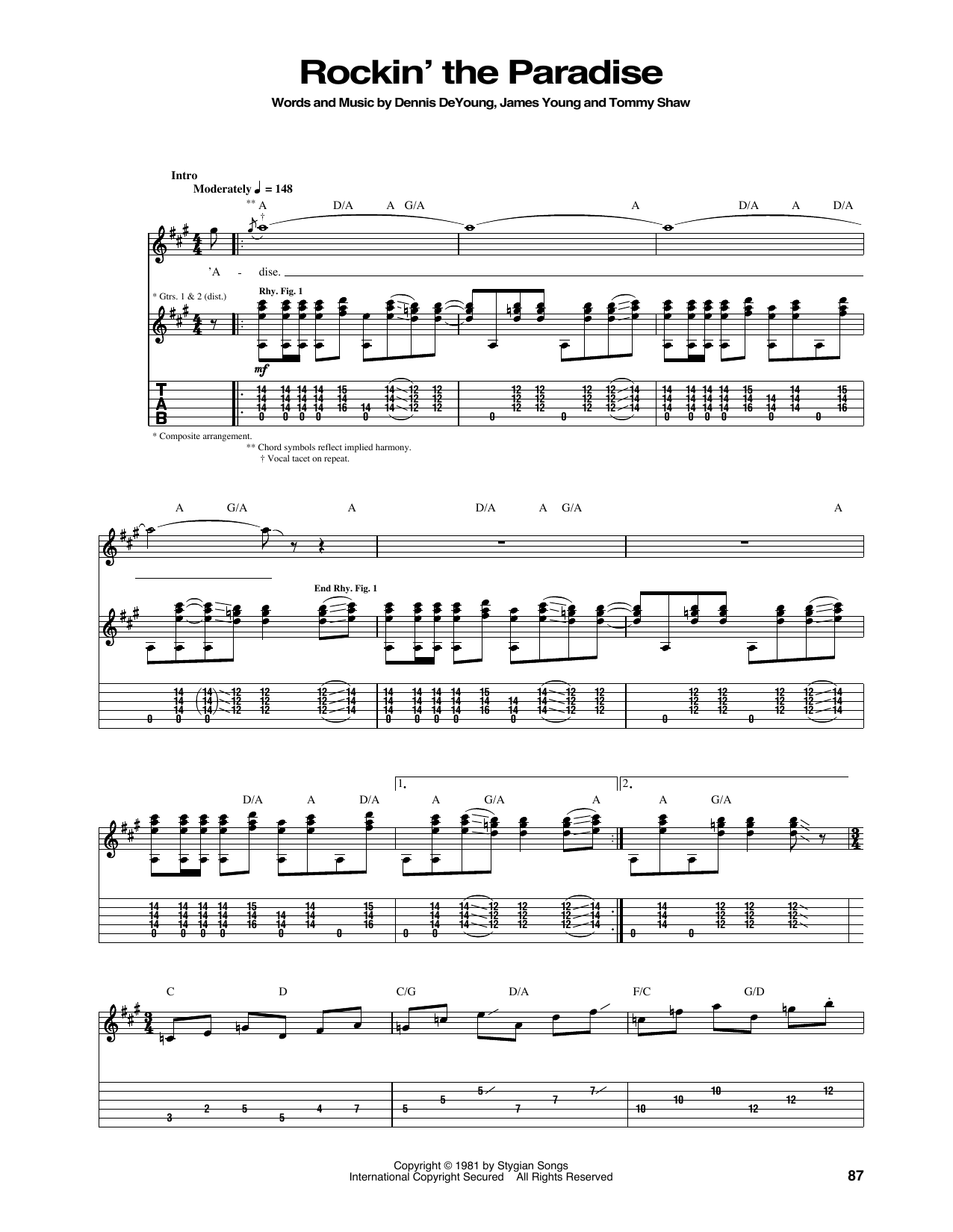 Tablature guitare Rockin' The Paradise de Styx - Tablature Guitare