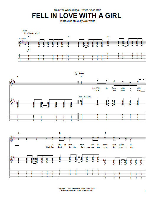 Fell In Love With A Girl Guitar Tab by The White Stripes (Guitar Tab u2013 91645)