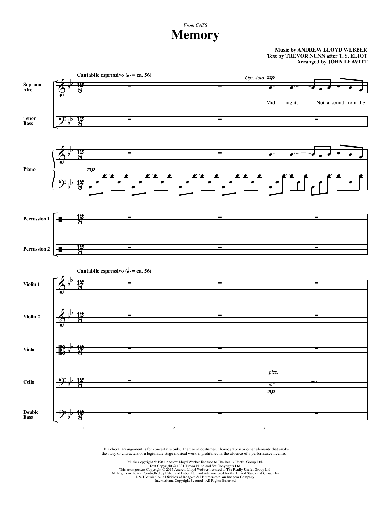 Memory - Full Score Sheet Music